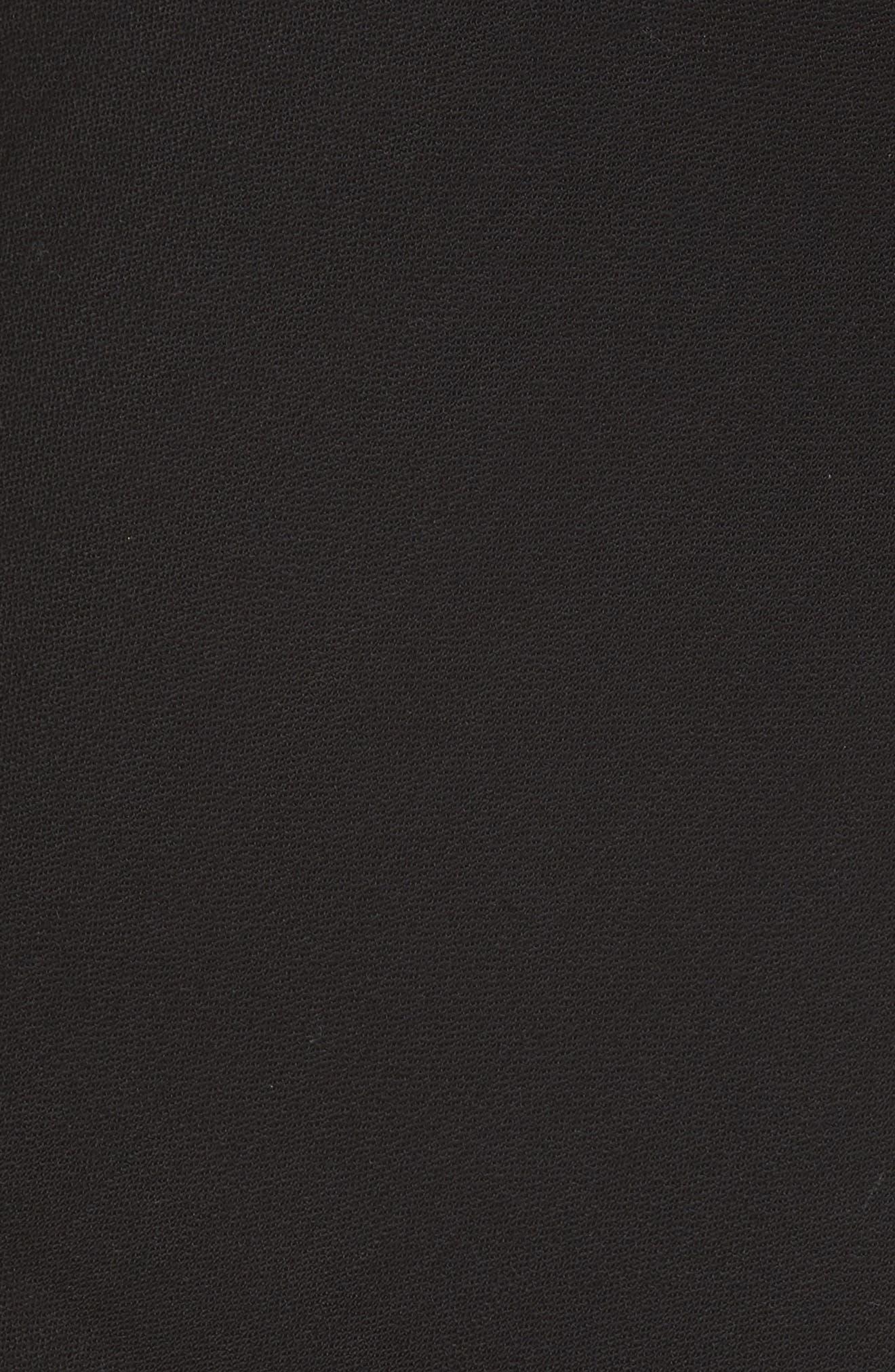 Ruffle Neck Asymmetrical Dress,                             Alternate thumbnail 5, color,                             BLACK
