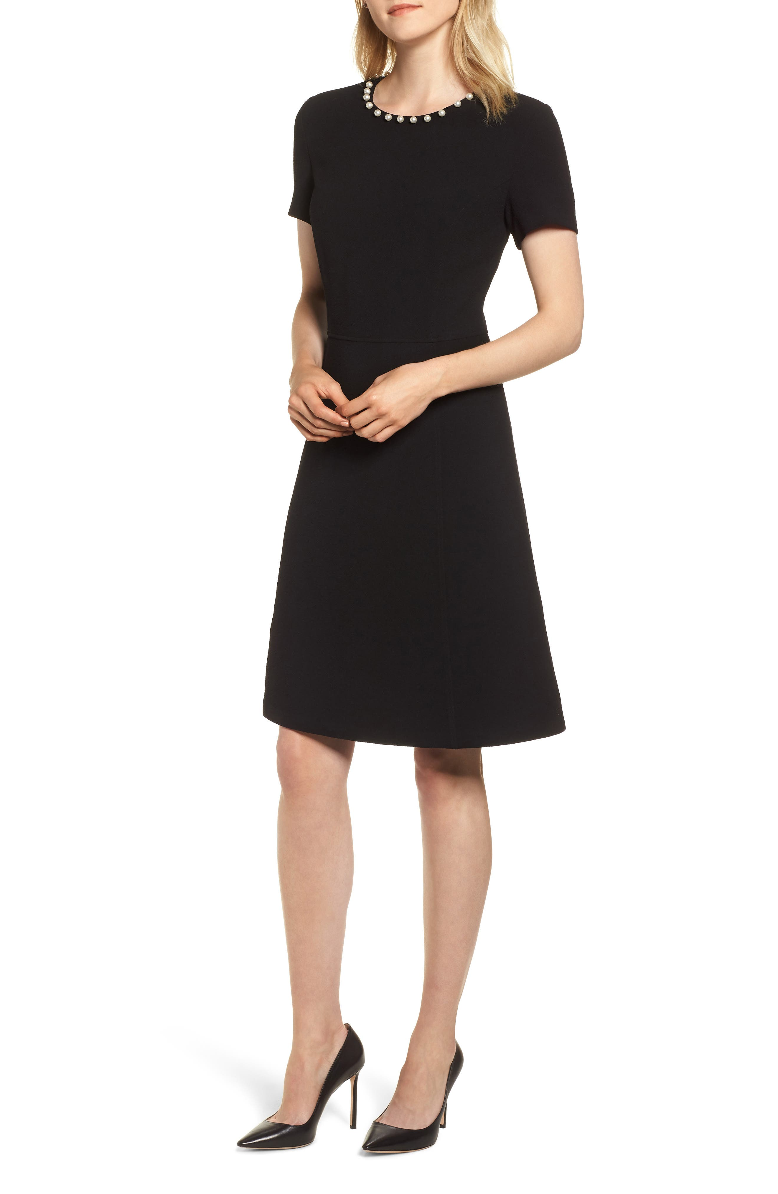KARL LAGERFELD PARIS Pearly Necklace Fit & Flare Dress, Main, color, 001
