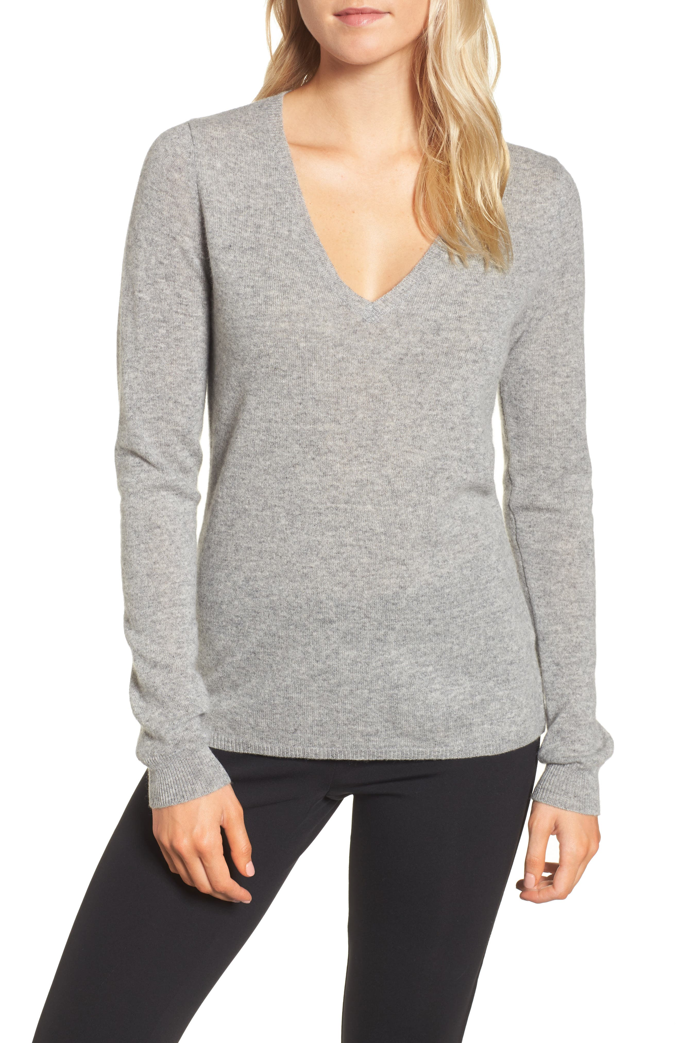 Cashmere V-Neck Sweater,                             Main thumbnail 1, color,                             086
