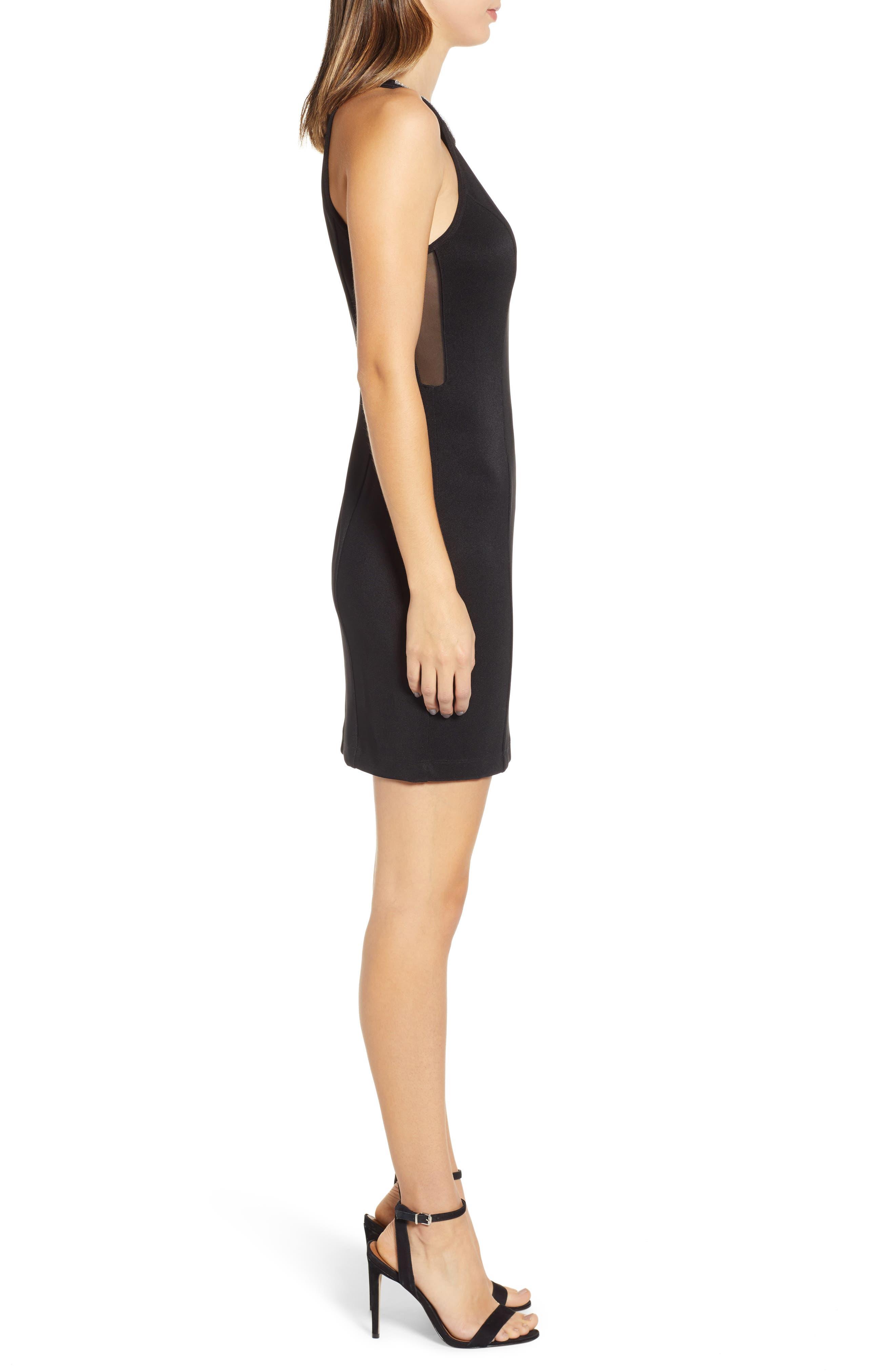 Side Illusion Sleeveless Sheath Dress,                             Alternate thumbnail 3, color,                             BLACK