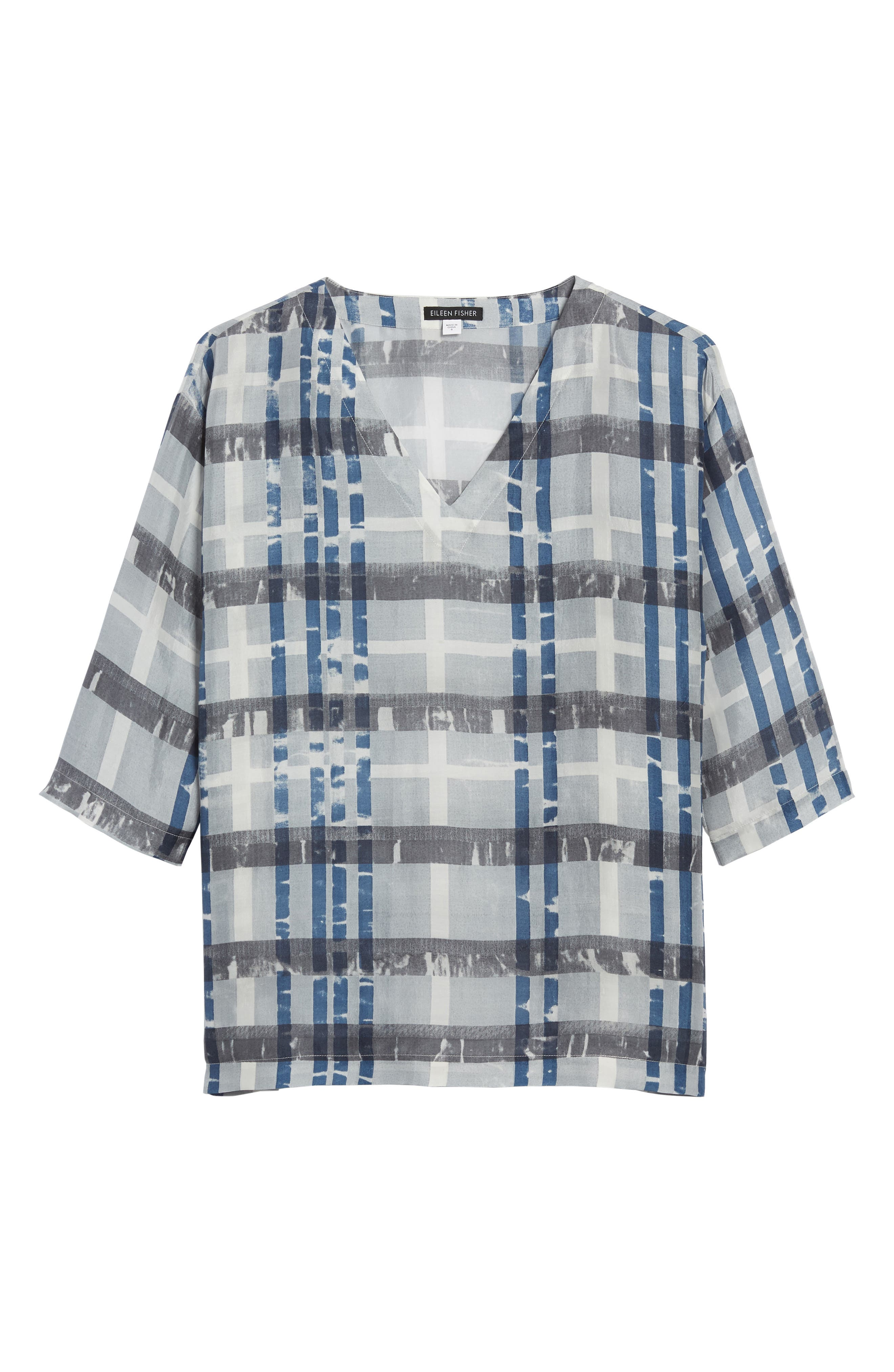 Plaid Boxy Silk Top,                             Alternate thumbnail 7, color,                             SILVER