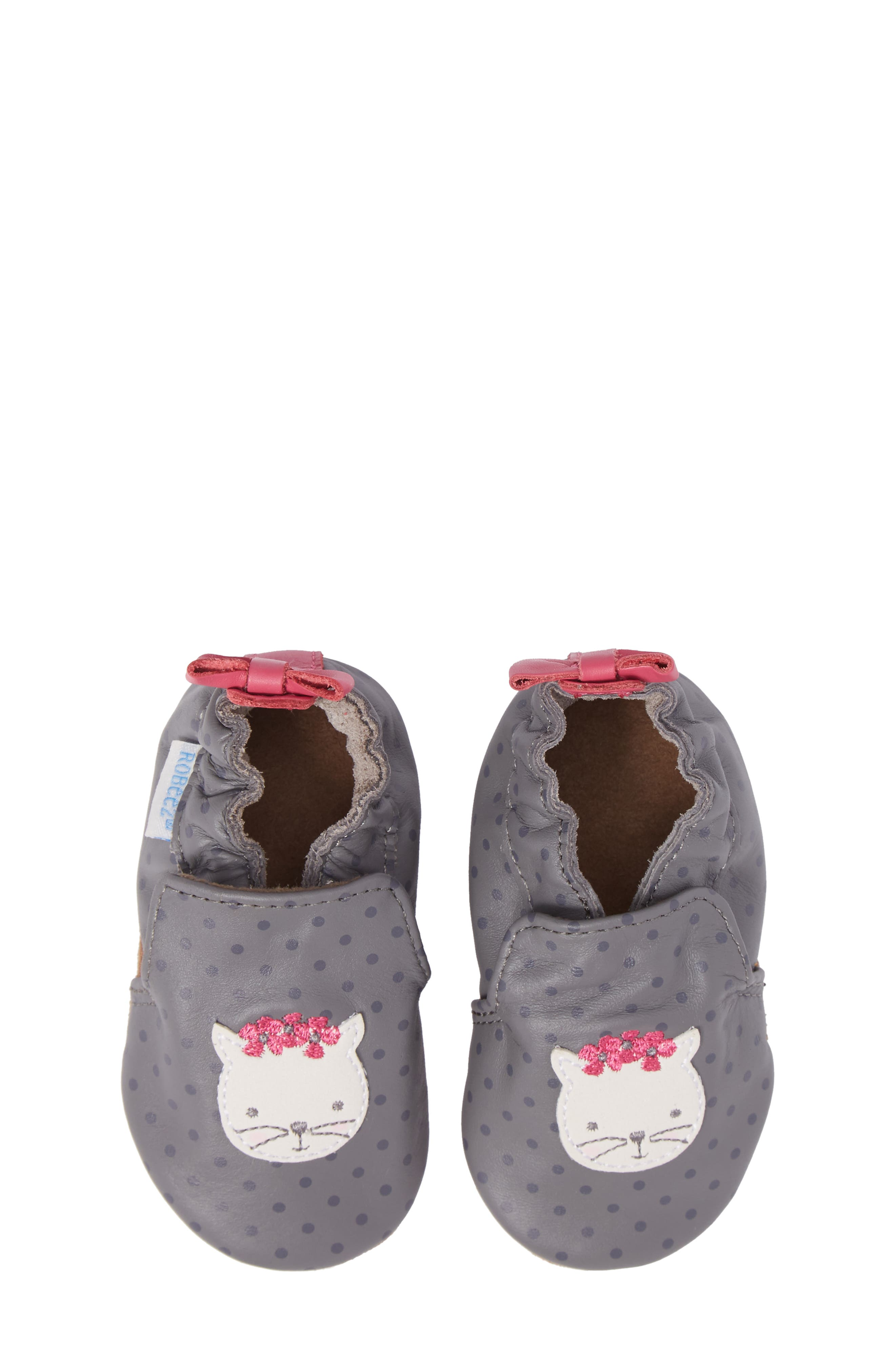 Miss Kitty Crib Shoe,                             Alternate thumbnail 5, color,                             GREY
