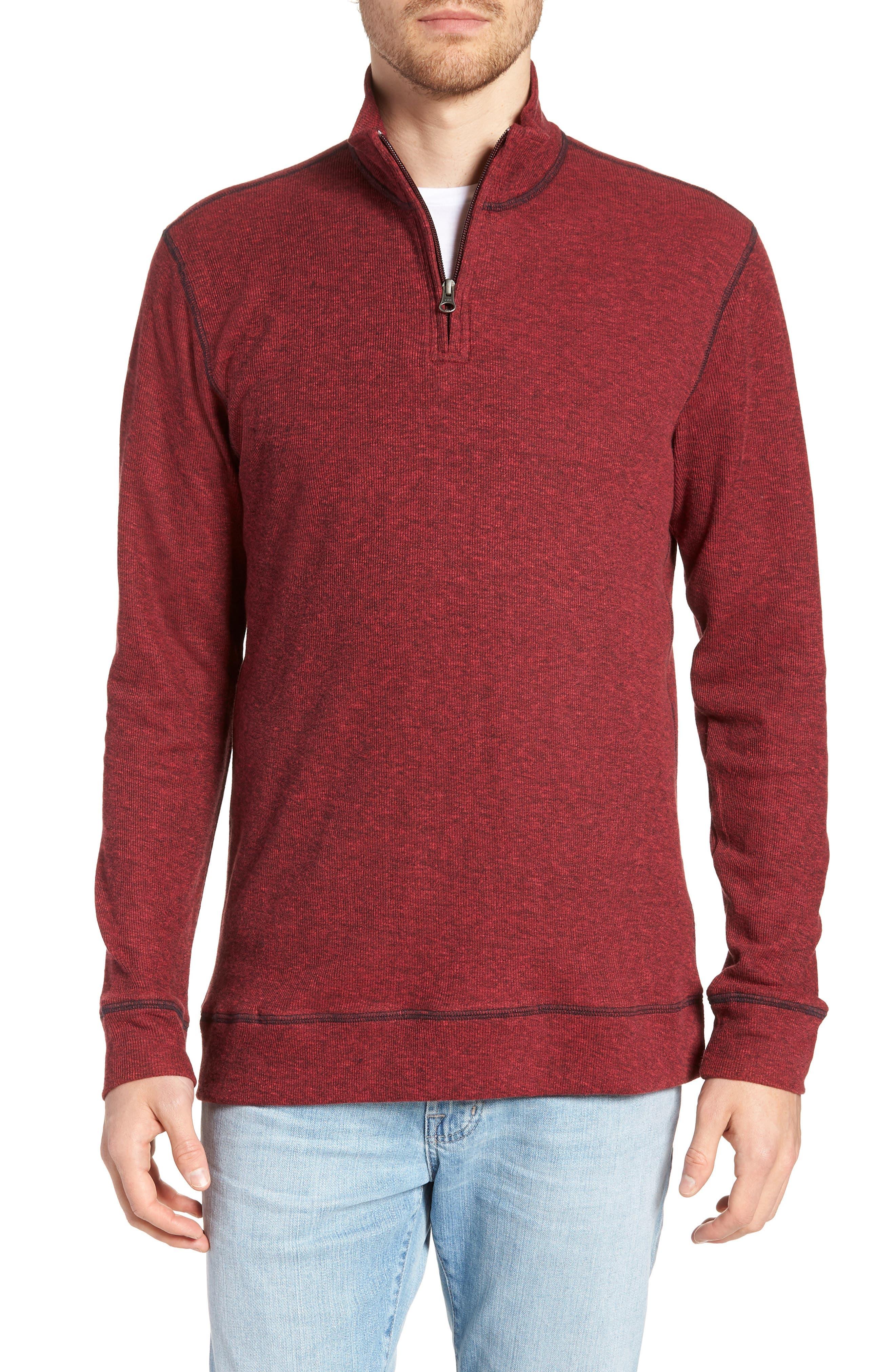 Regular Fit Ribbed Quarter Zip Shirt,                             Main thumbnail 1, color,                             MOLTEN LAVA