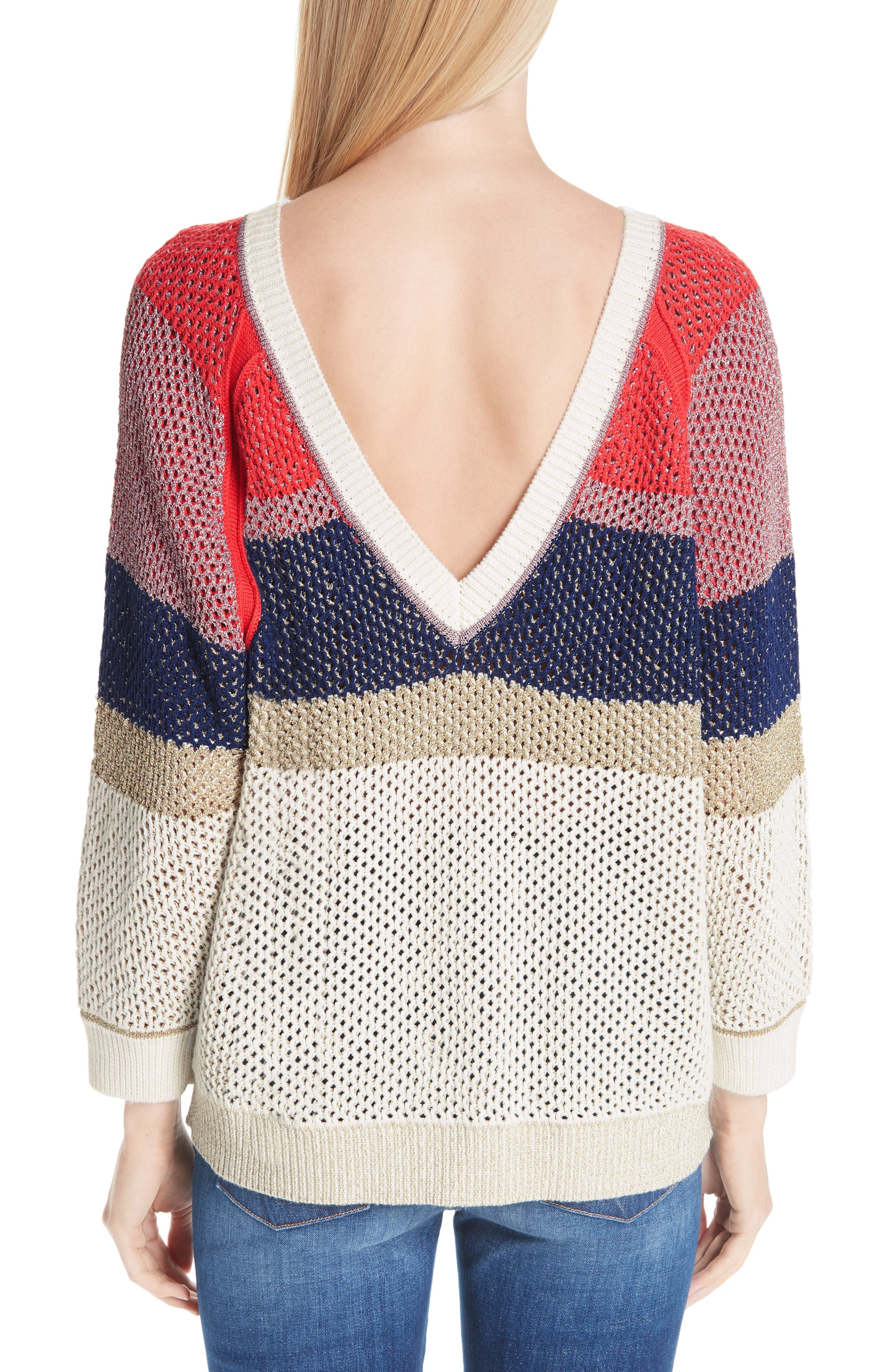 Hera Colorblock V-Back Sweater,                             Alternate thumbnail 2, color,                             MULTICOLOR