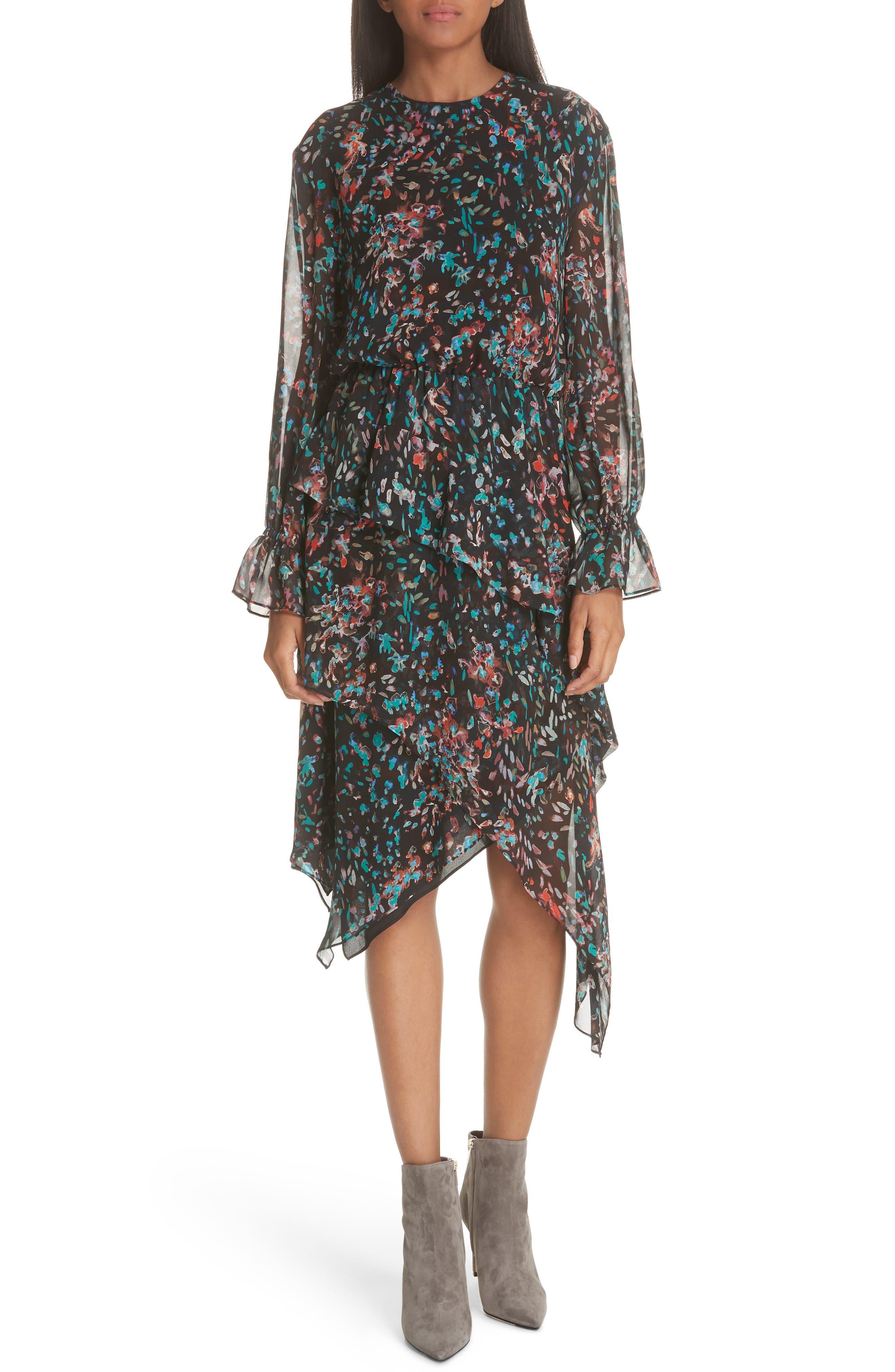 Print Asymmetrical Dress,                             Main thumbnail 1, color,                             BLACK