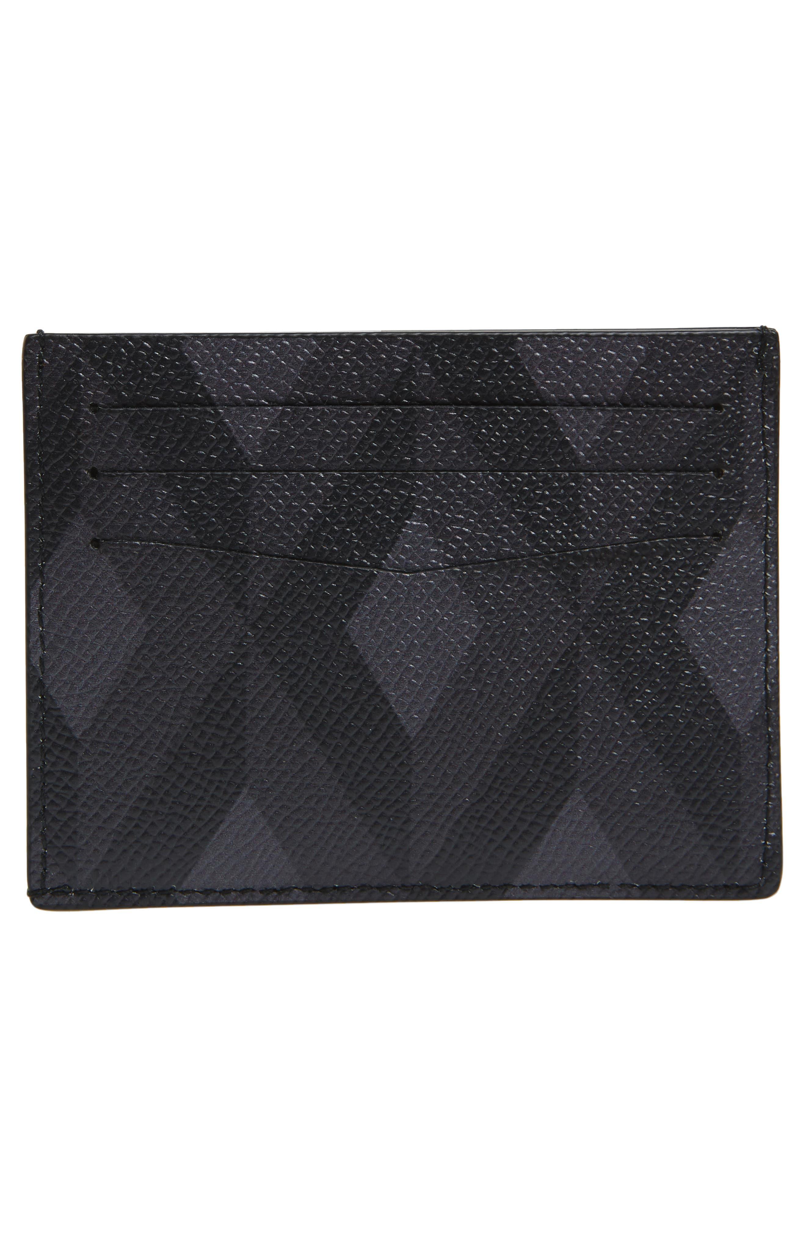 Cadogan Diamond Print Leather Card Case,                             Alternate thumbnail 2, color,                             GREY
