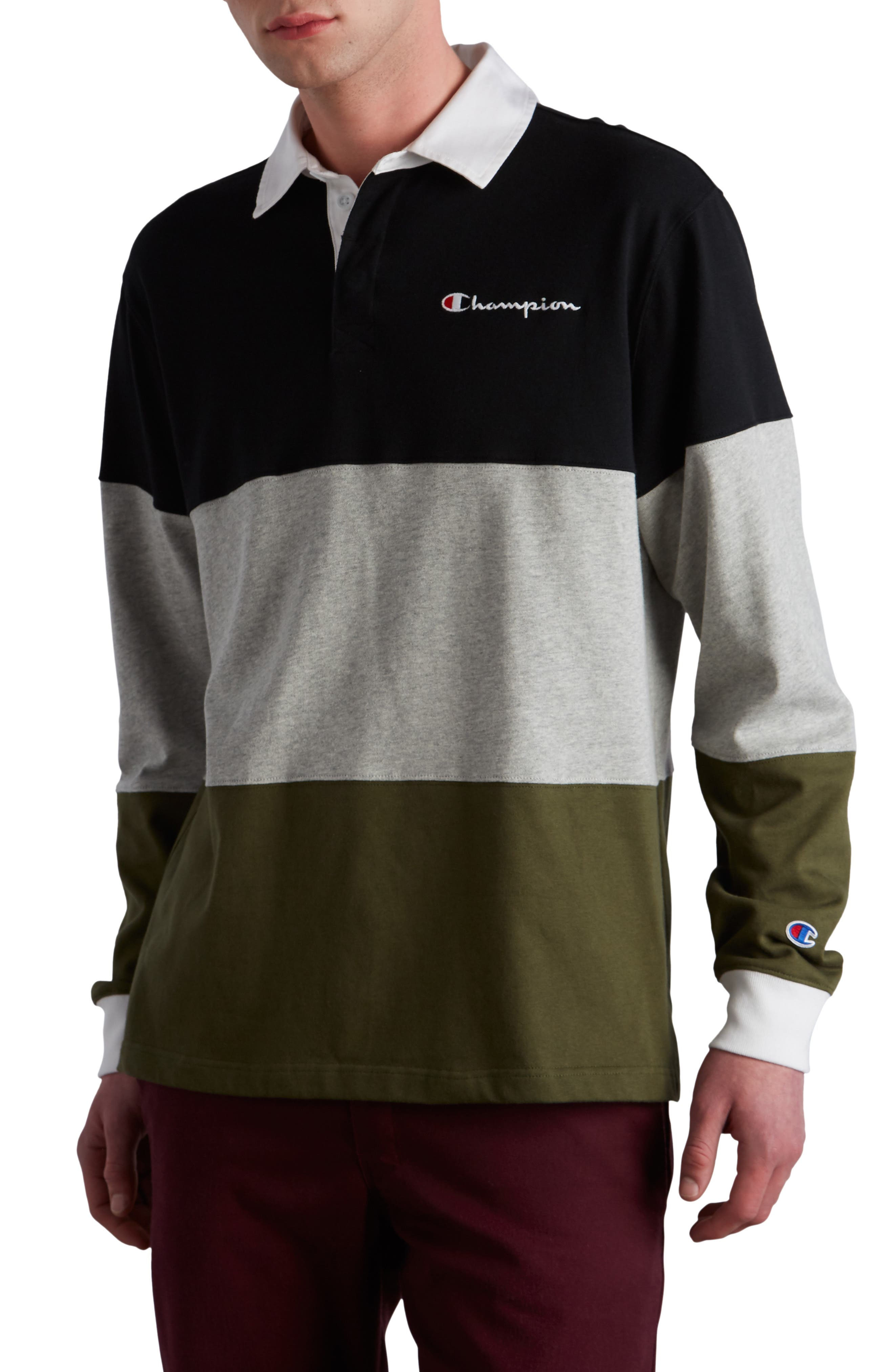 Colorblock Rugby Shirt,                         Main,                         color, BLACK/ GREY/ HIKER GREEN