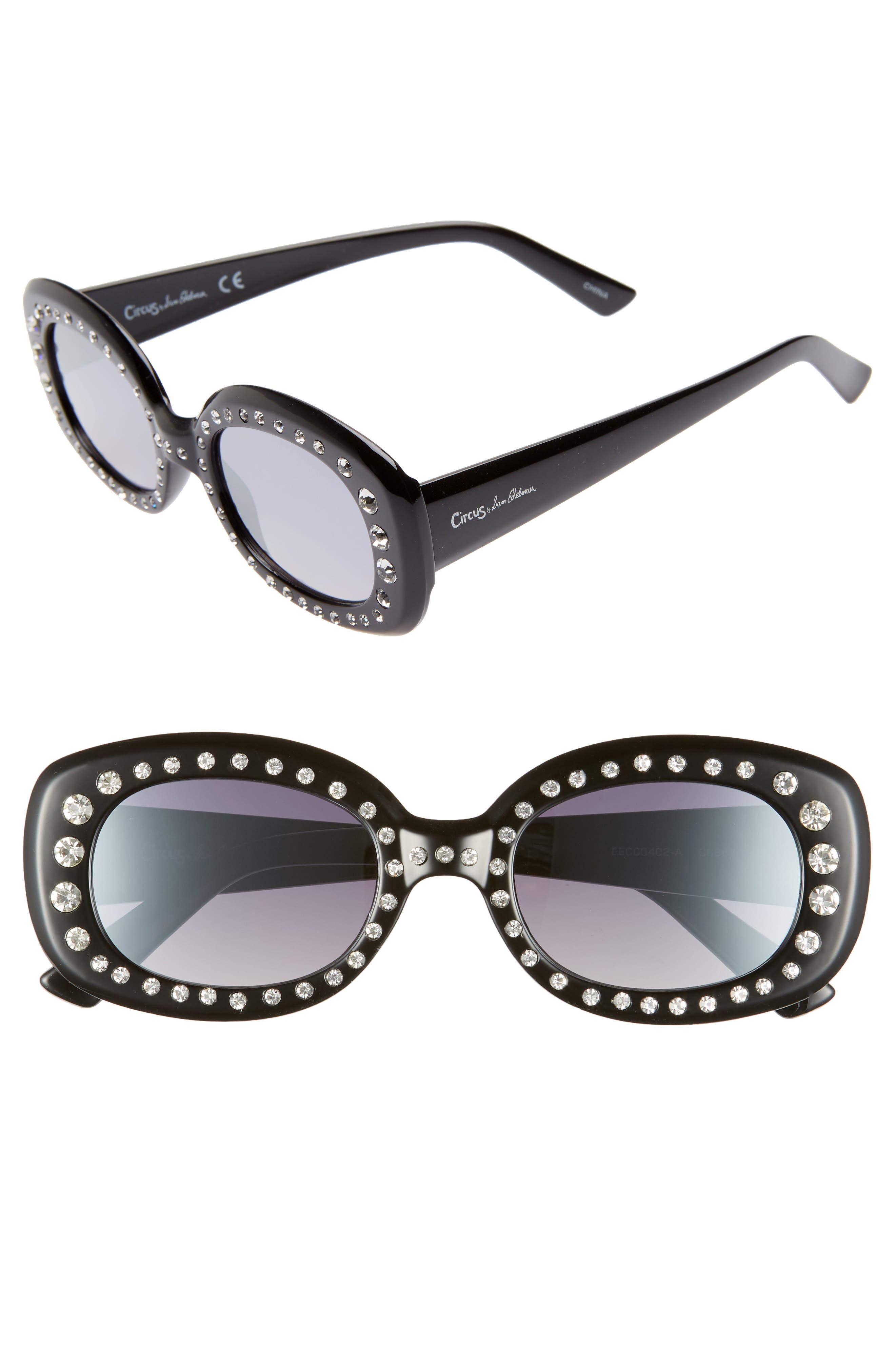 CIRCUS BY SAM EDELMAN 50Mm Crystal Embellished Gradient Oval Sunglasses - Black