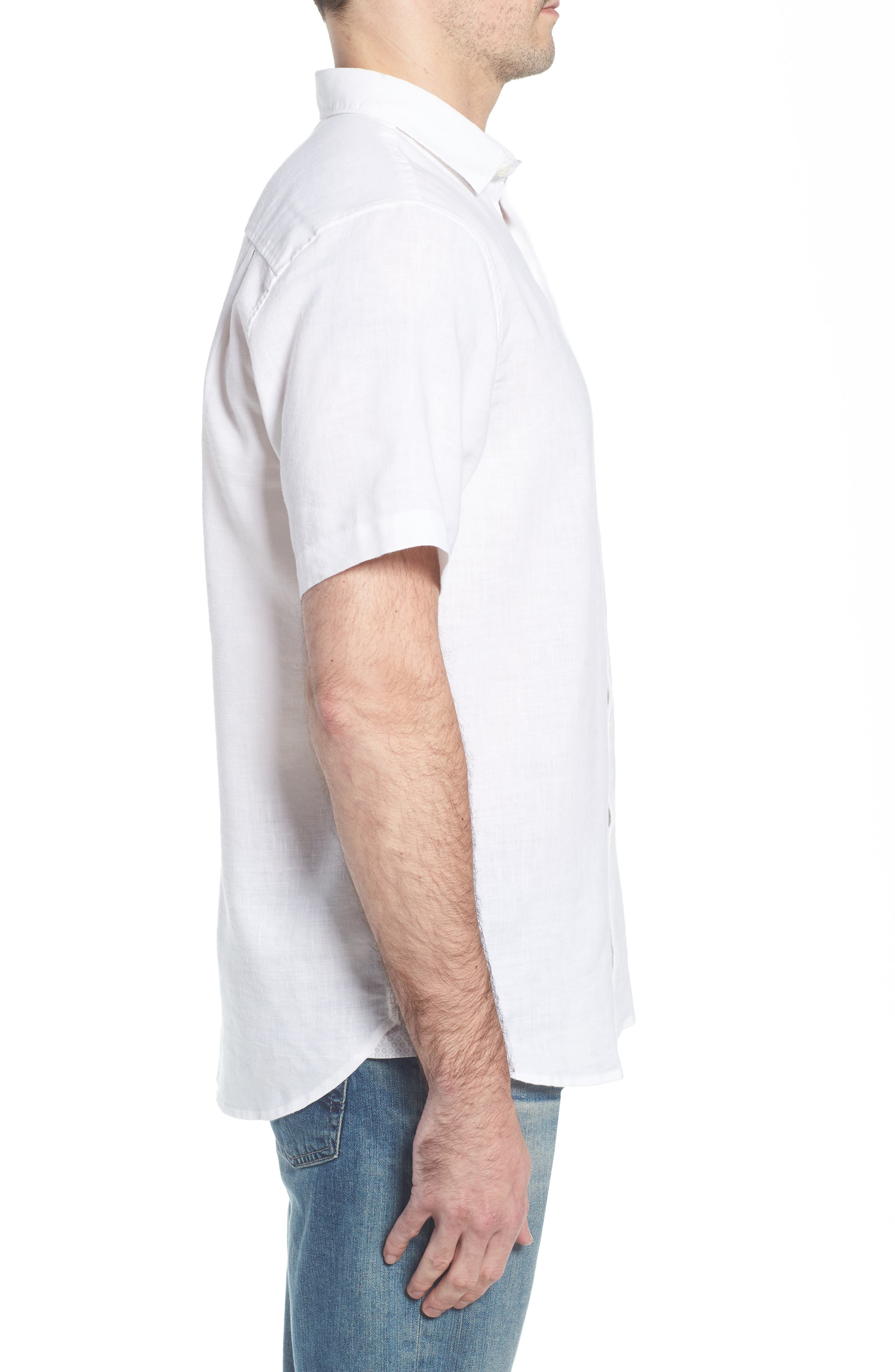 Lanai Tides Linen Blend Sport Shirt,                             Alternate thumbnail 3, color,                             100