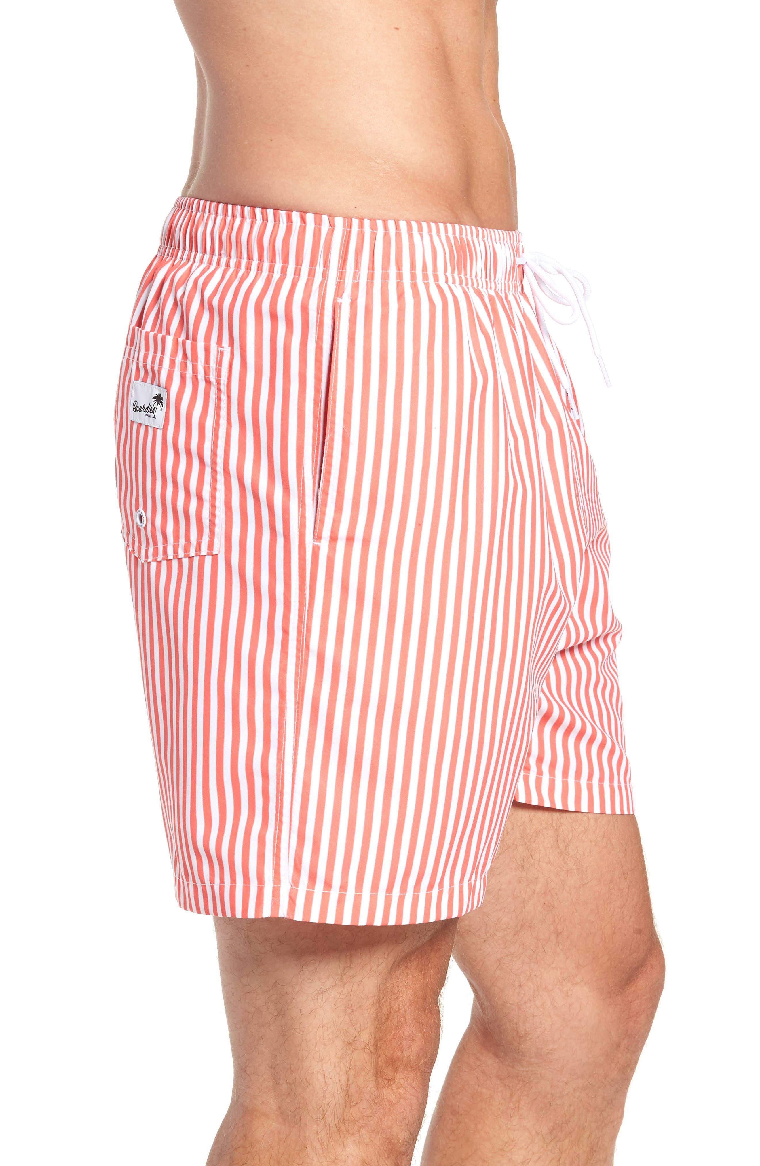 Deck Stripes Swim Trunks,                             Alternate thumbnail 3, color,                             PINK
