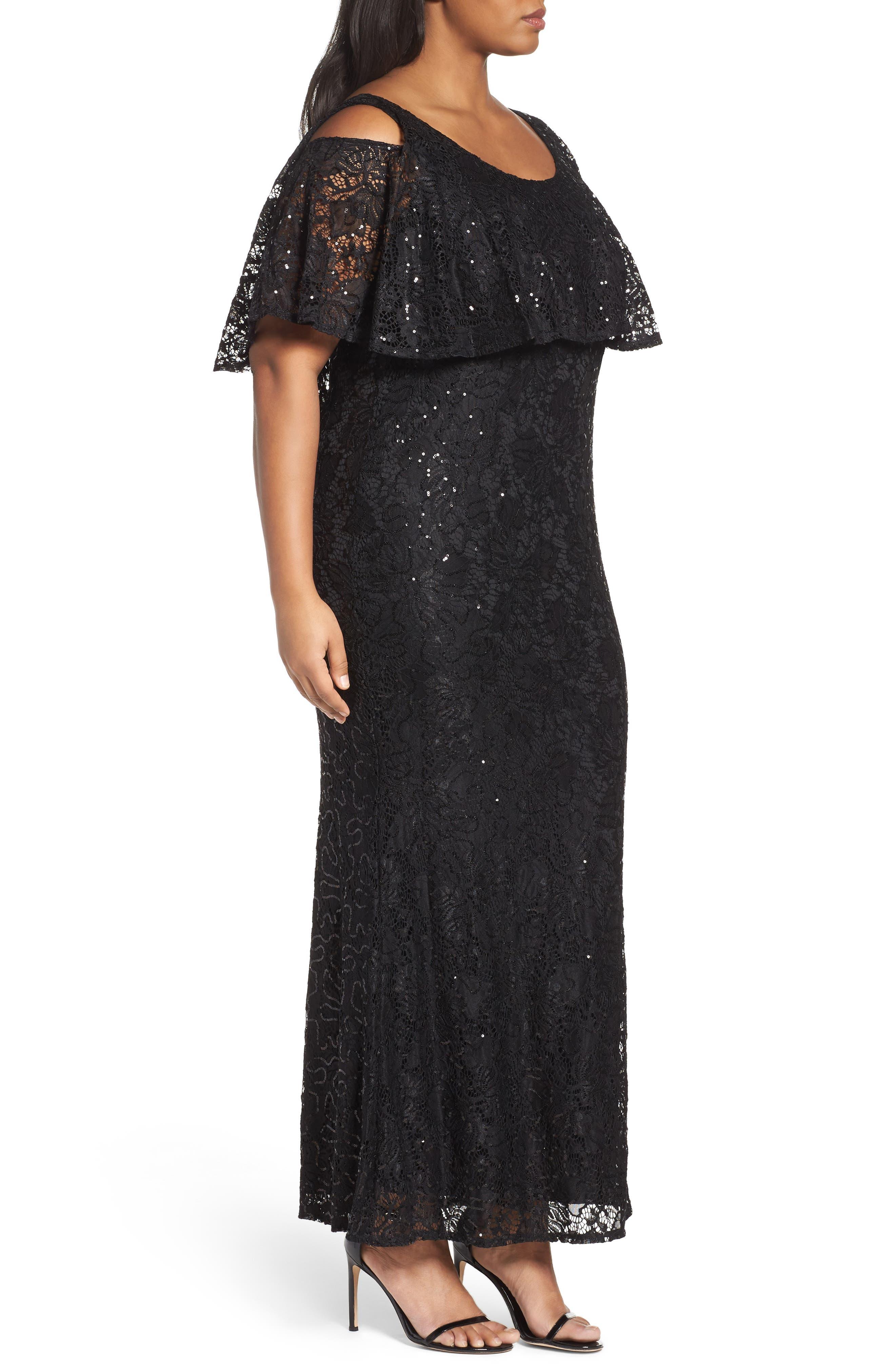 Sequin Lace Cold Shoulder Long Dress,                             Alternate thumbnail 7, color,
