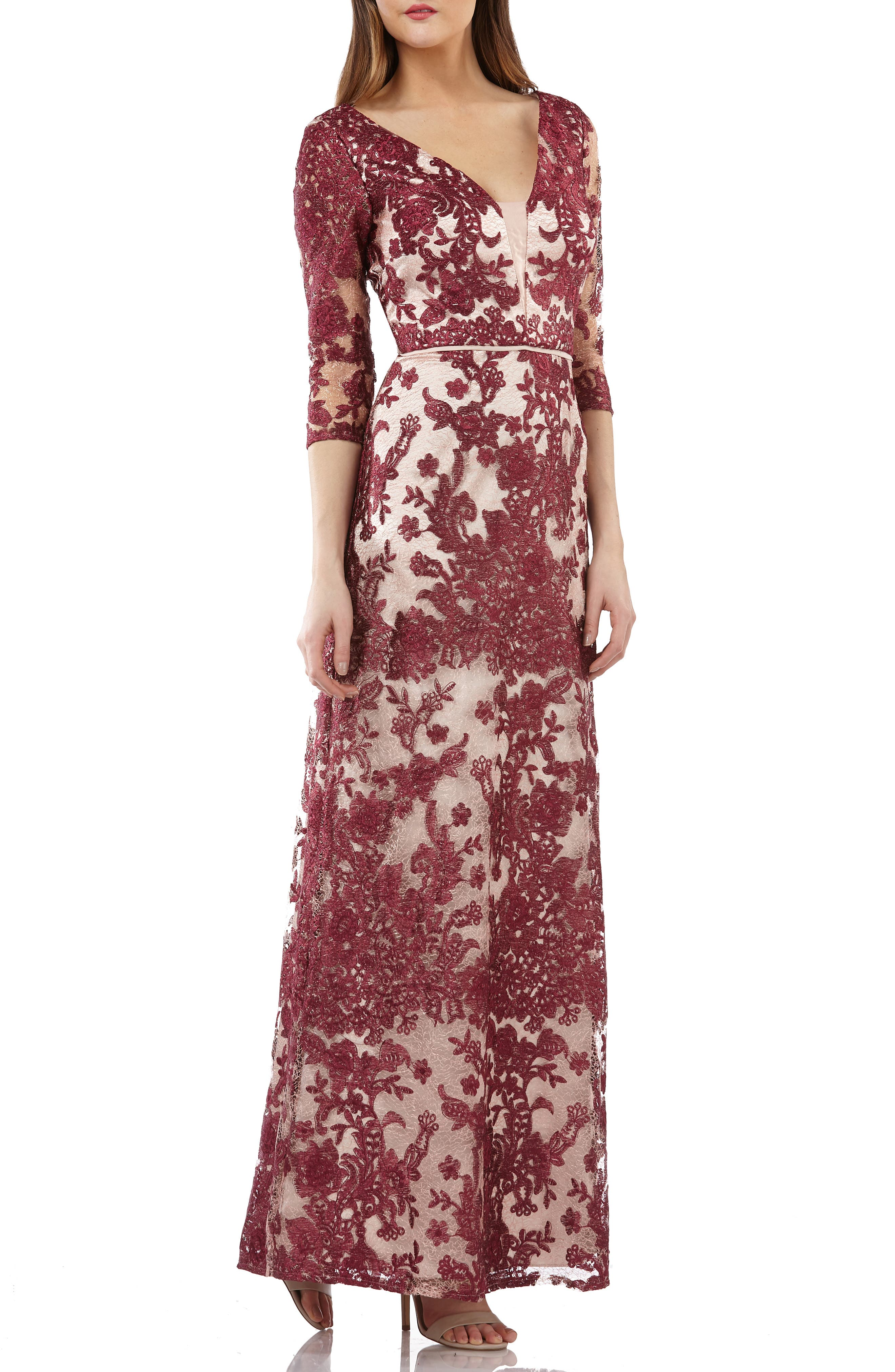 Js Collections Embroidered Lace Gown, Burgundy