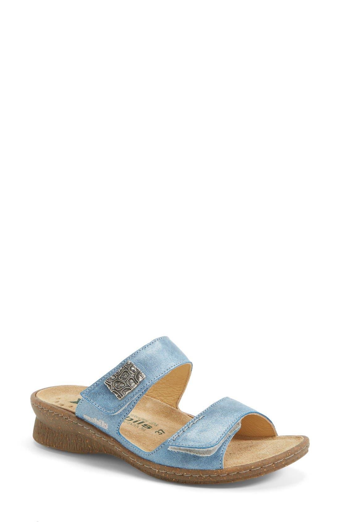 'Bregalia' Metallic Leather Sandal,                             Main thumbnail 1, color,                             400