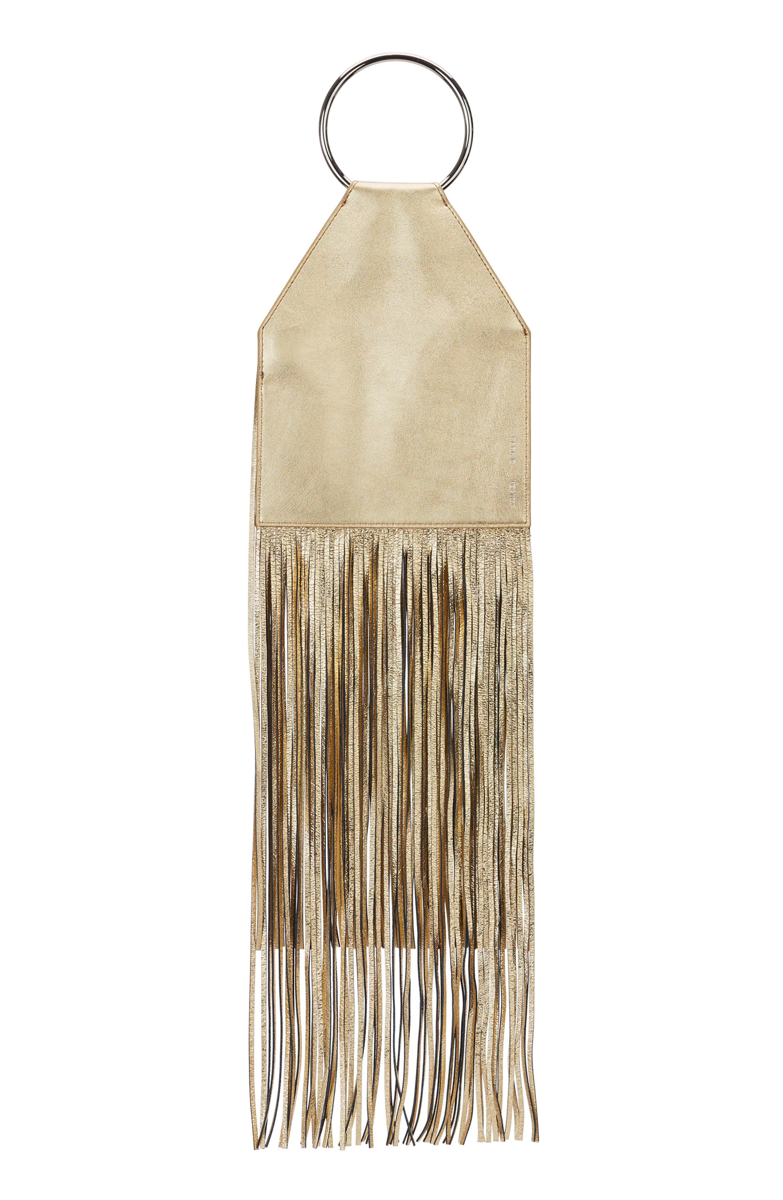 KARA Fringe Lambskin Ring Clutch - Metallic in Gold