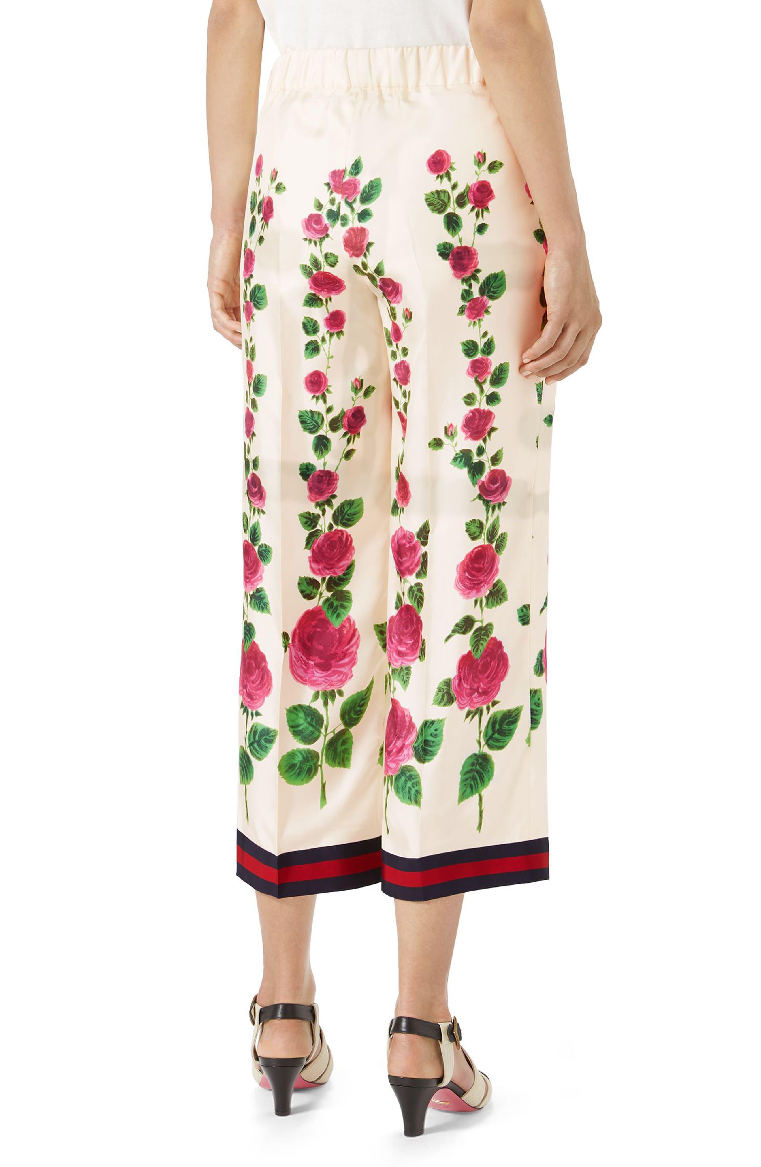 Rose Print Silk Pajama Pants,                             Alternate thumbnail 2, color,                             909