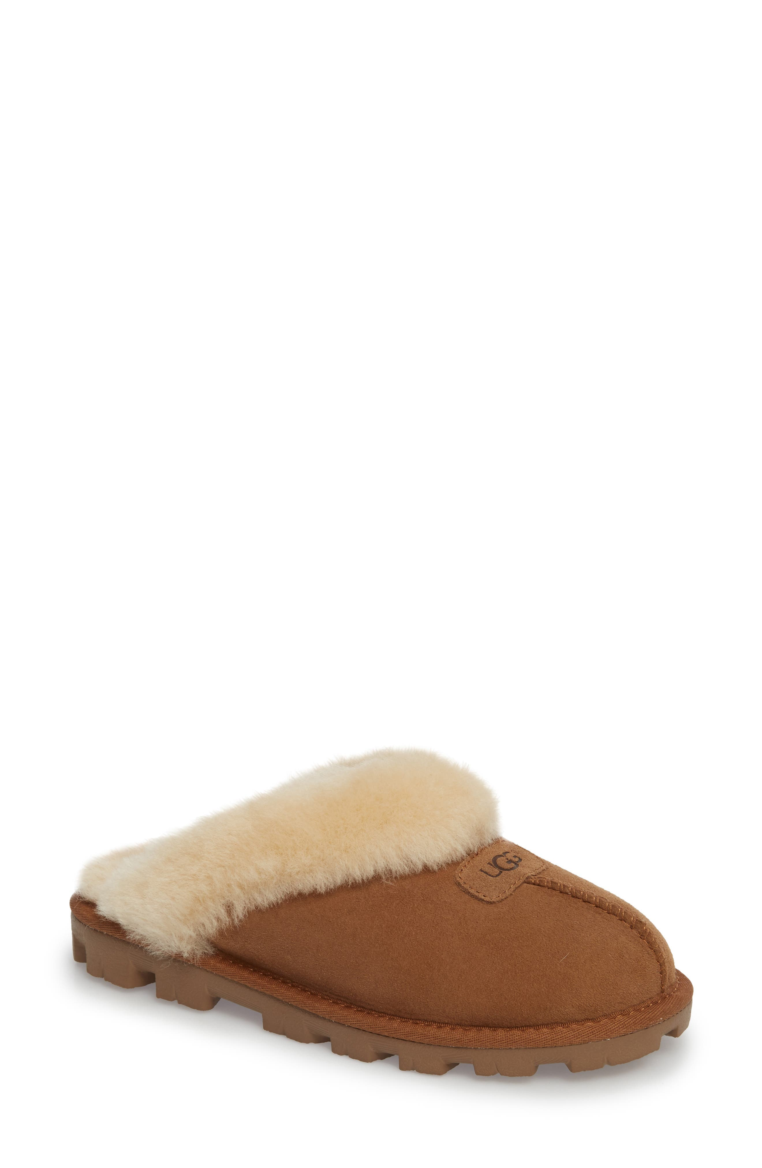 UGG<SUP>®</SUP>,                             Genuine Shearling Slipper,                             Main thumbnail 1, color,                             CHESTNUT
