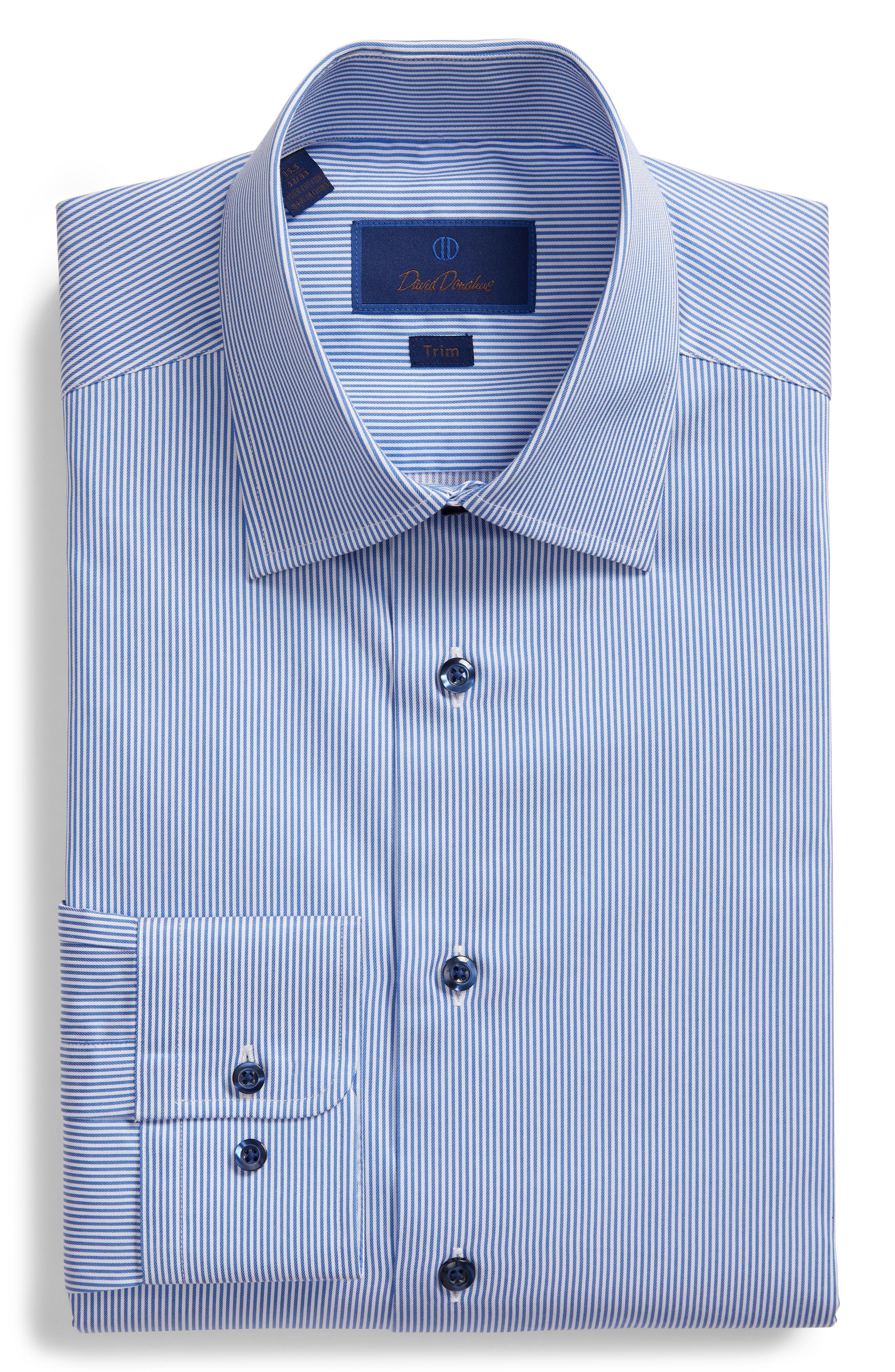 Trim Fit Stripe Dress Shirt,                             Alternate thumbnail 5, color,                             BLUE