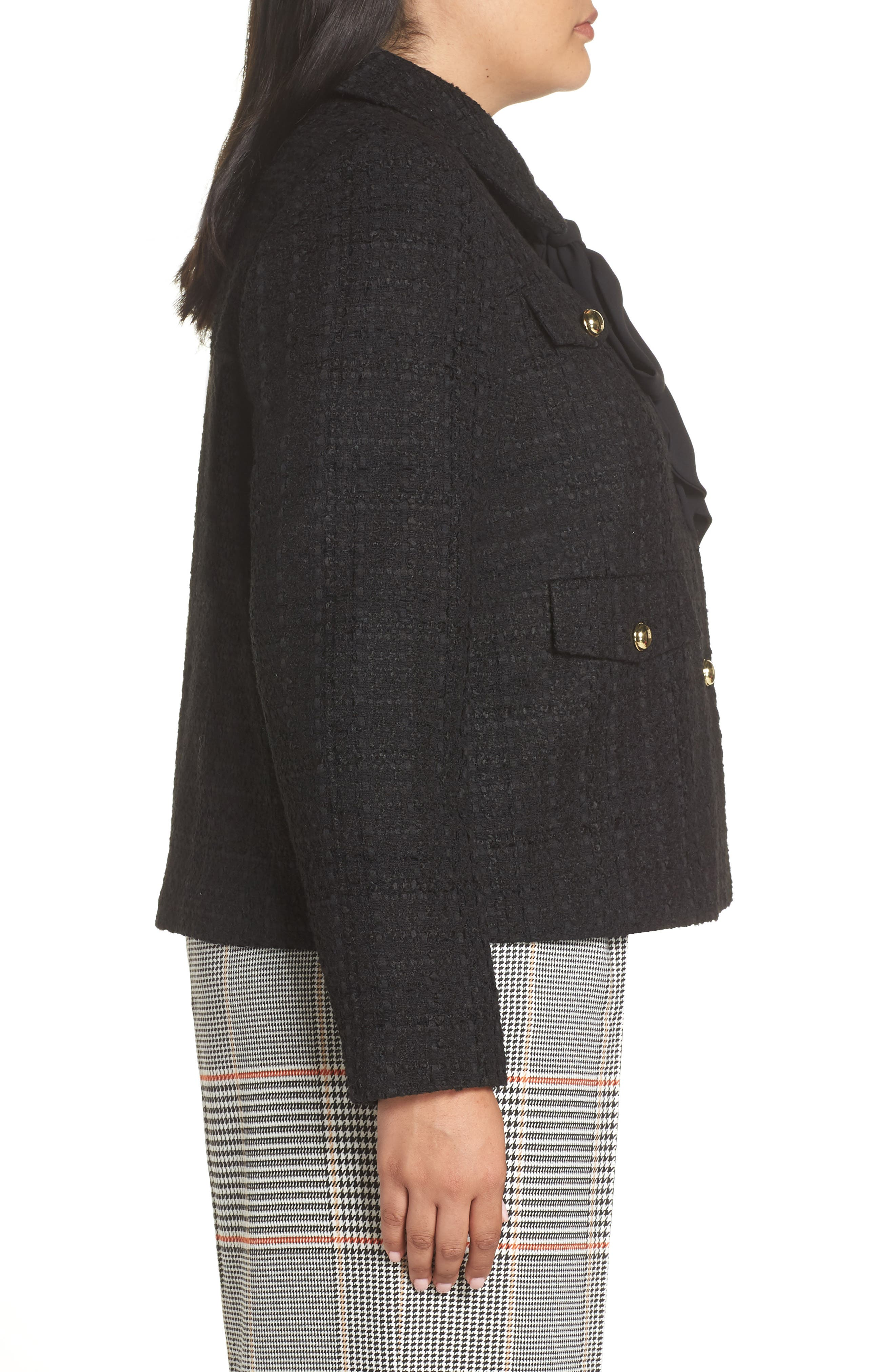 x Atlantic-Pacific Bow Detail Tweed Jacket,                             Alternate thumbnail 3, color,                             001