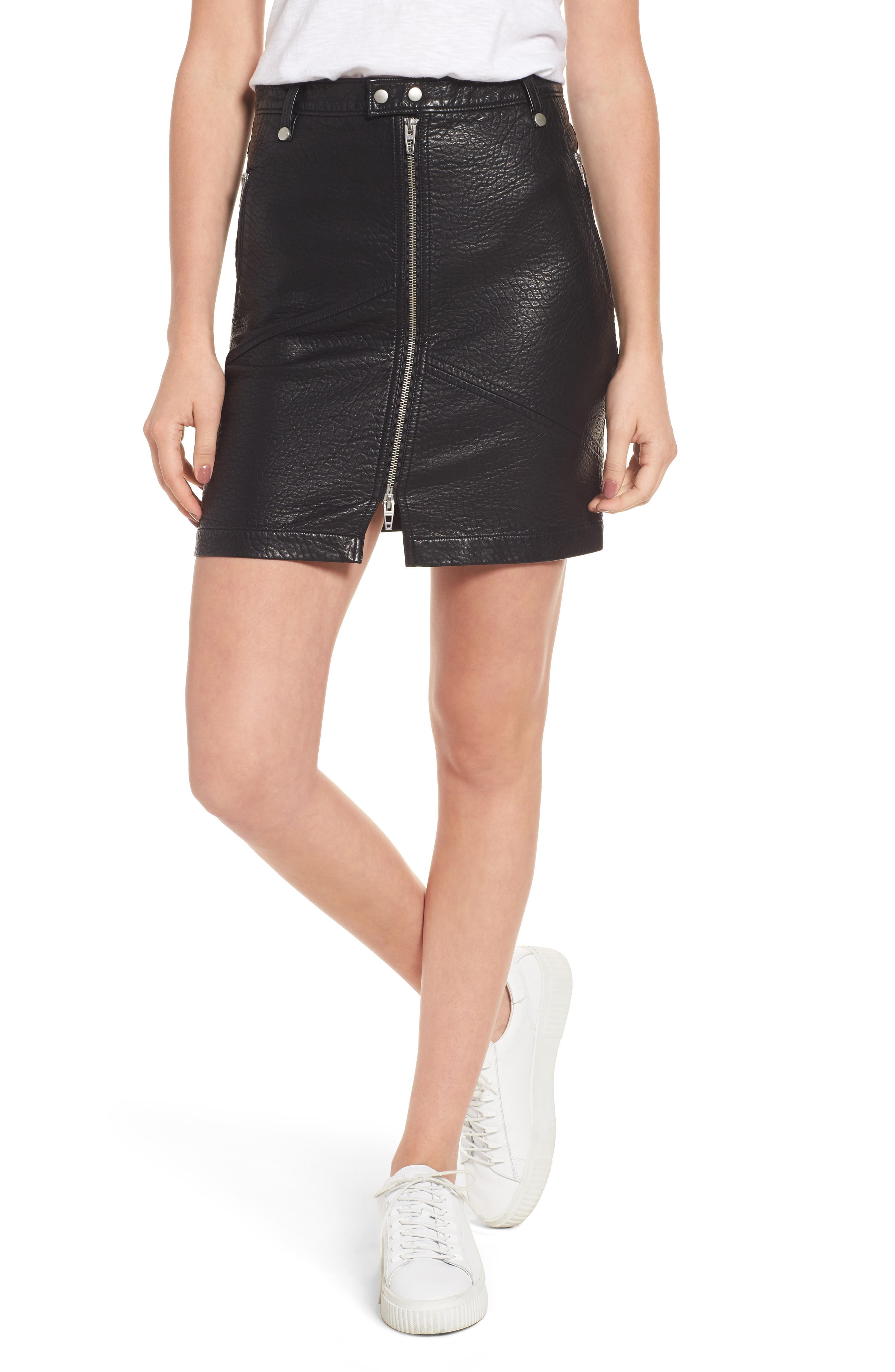 Faux Leather Moto Skirt,                             Main thumbnail 1, color,                             001