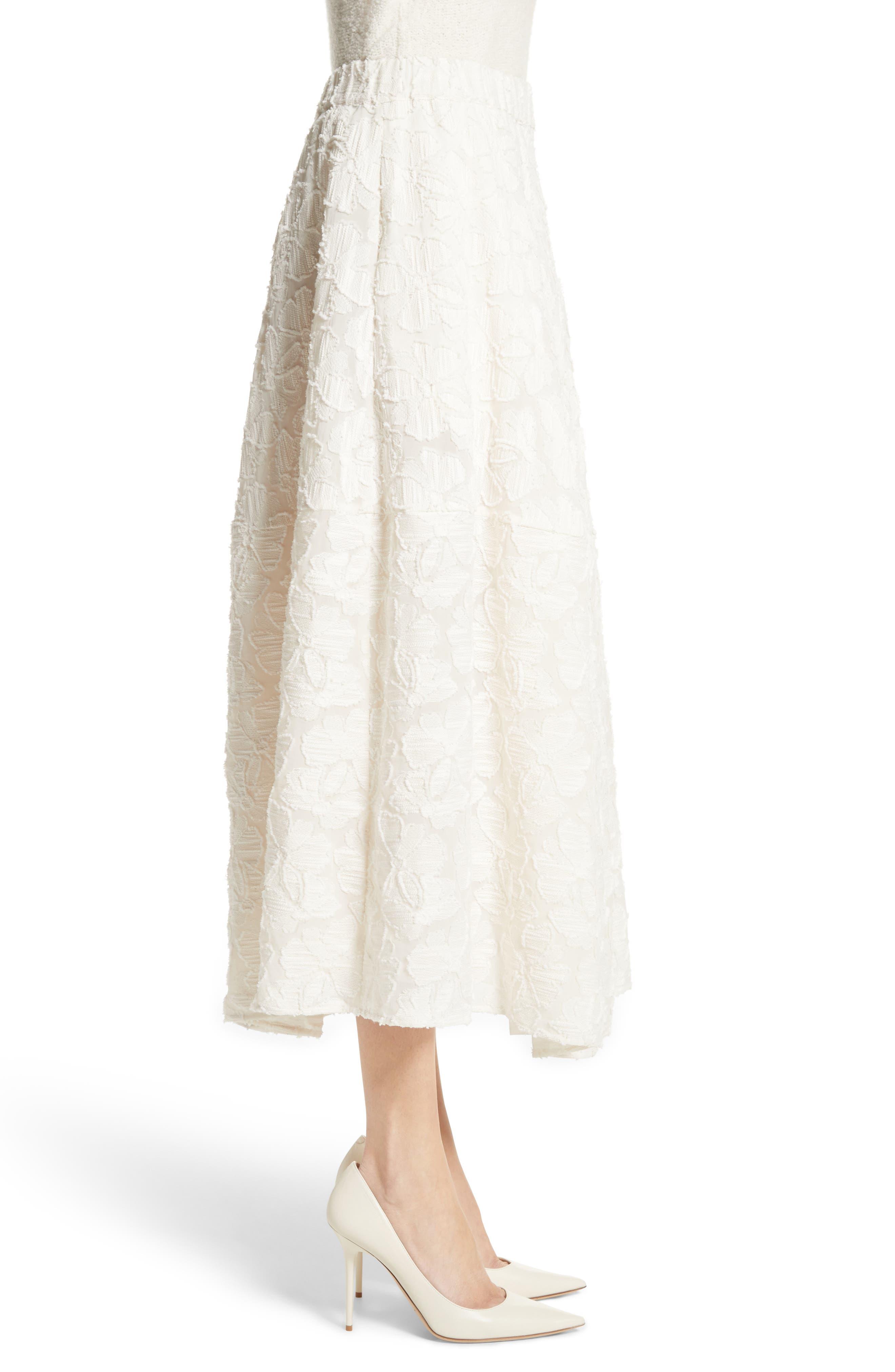 Pleated Fil Coupé Midi Skirt,                             Alternate thumbnail 3, color,                             900