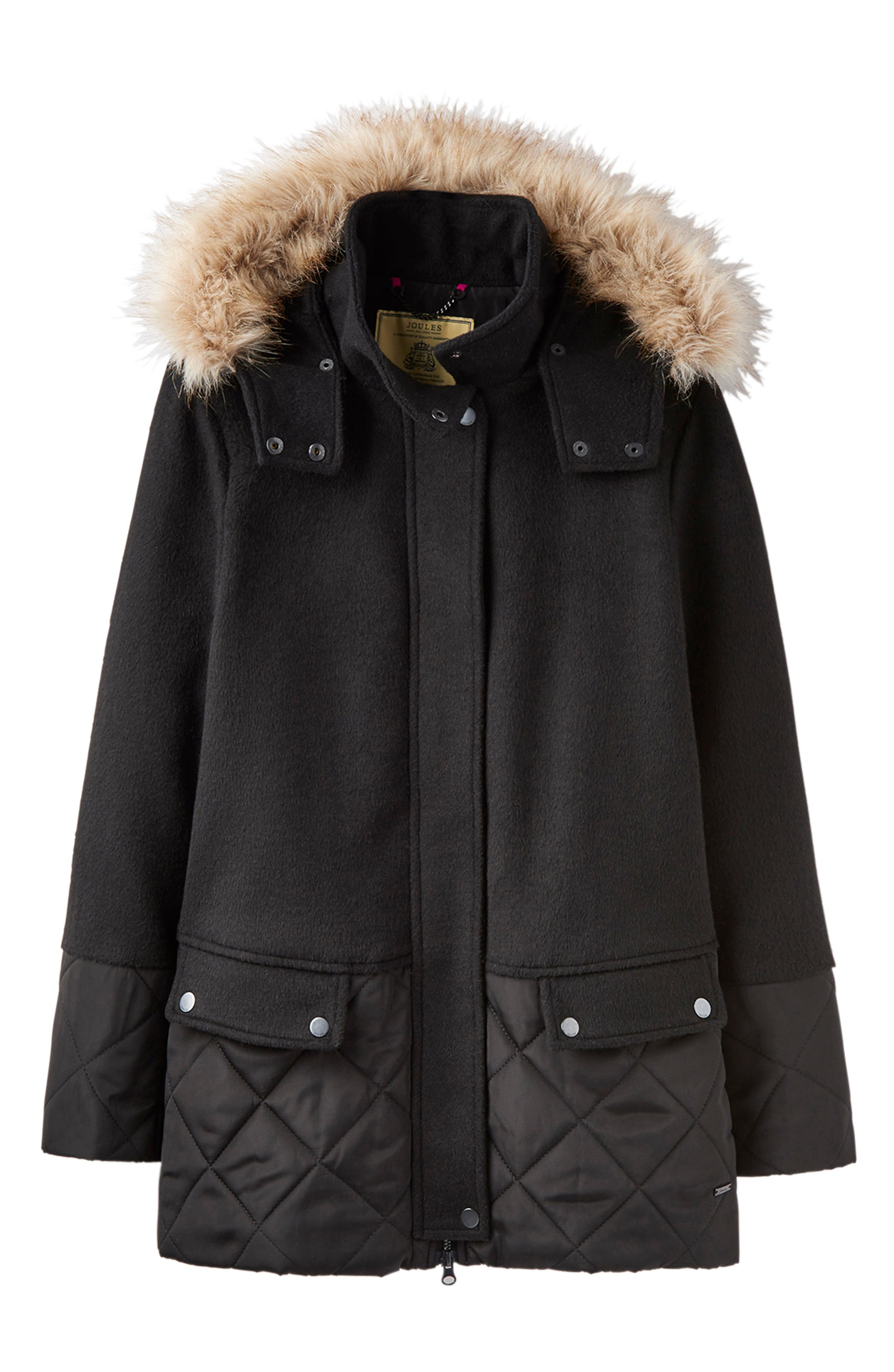 Mixed Texture Hooded Coat with Faux Fur Trim,                             Alternate thumbnail 6, color,                             BLACK
