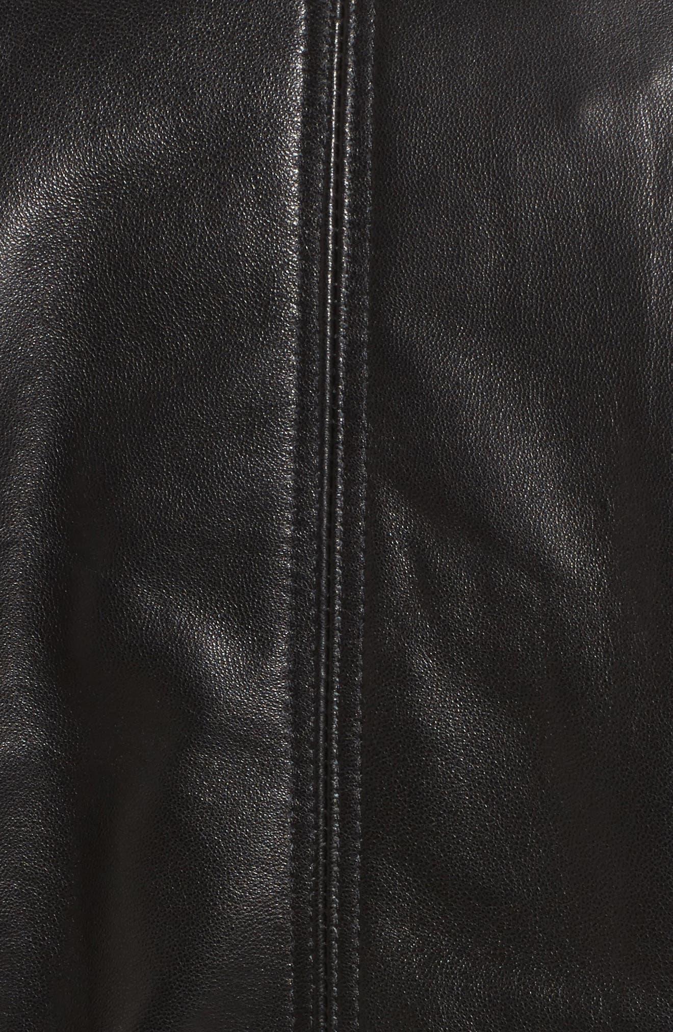 Leather Bomber Jacket,                             Alternate thumbnail 5, color,