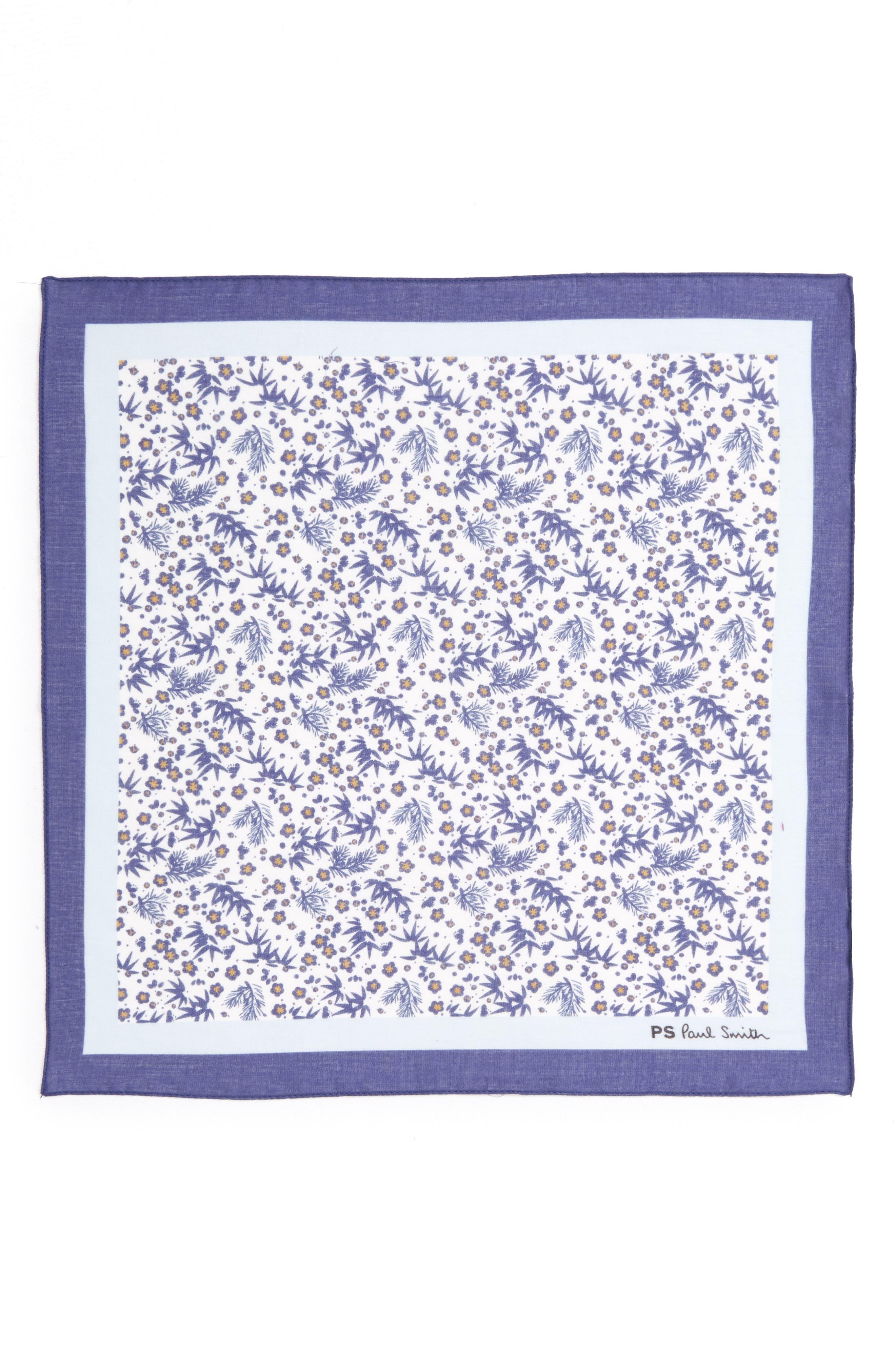 Floral Print Silk Pocket Square,                             Alternate thumbnail 2, color,                             100