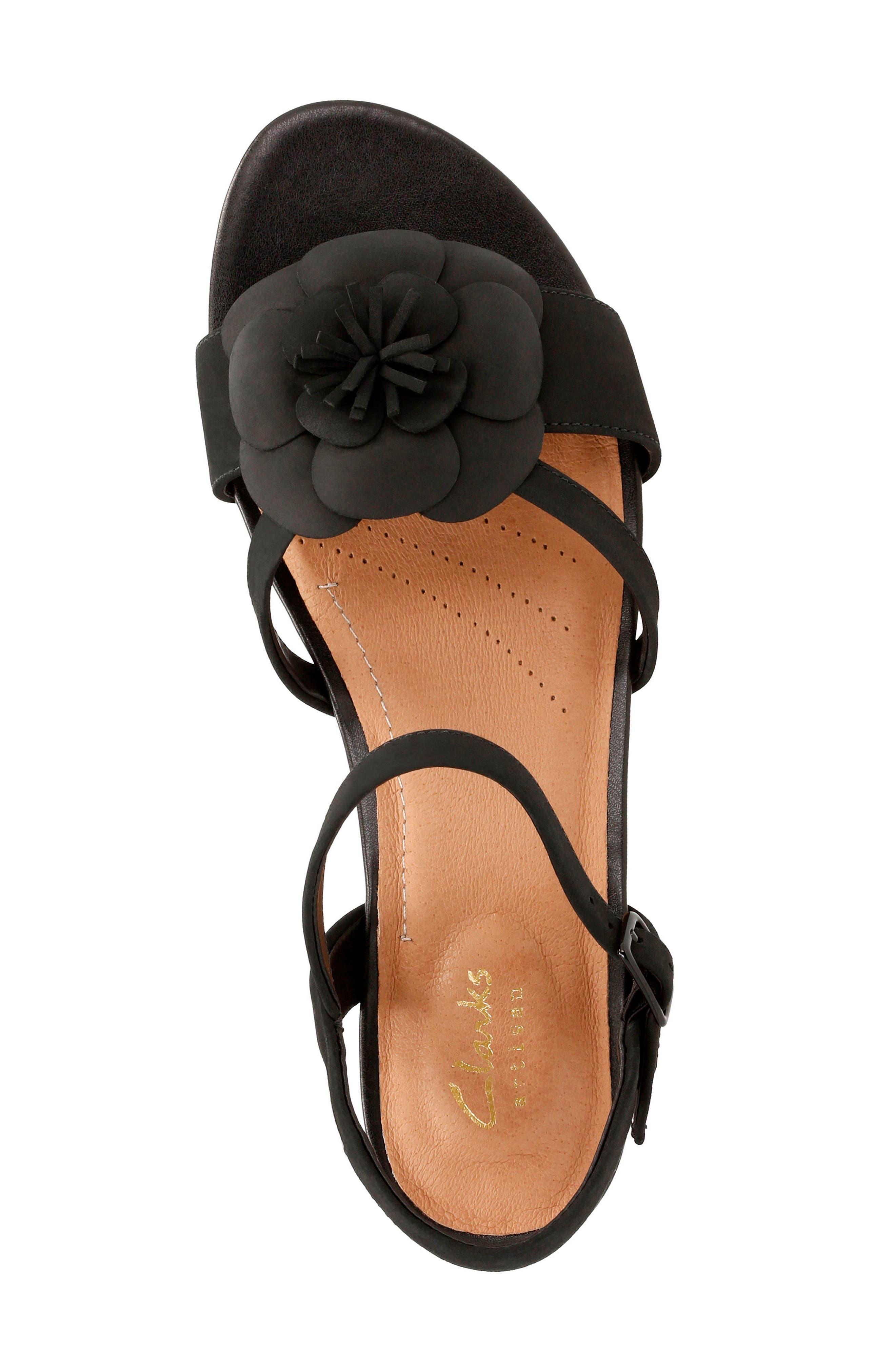 Parram Stella Flower Wedge Sandal,                             Alternate thumbnail 5, color,                             002