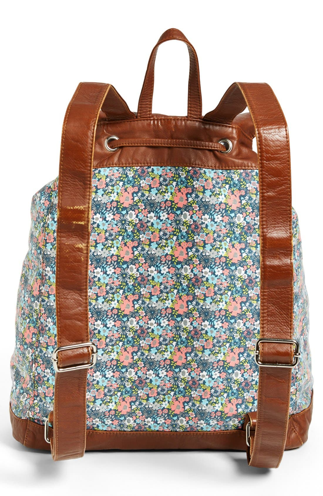 Faux Leather Trim Floral Backpack,                             Alternate thumbnail 2, color,