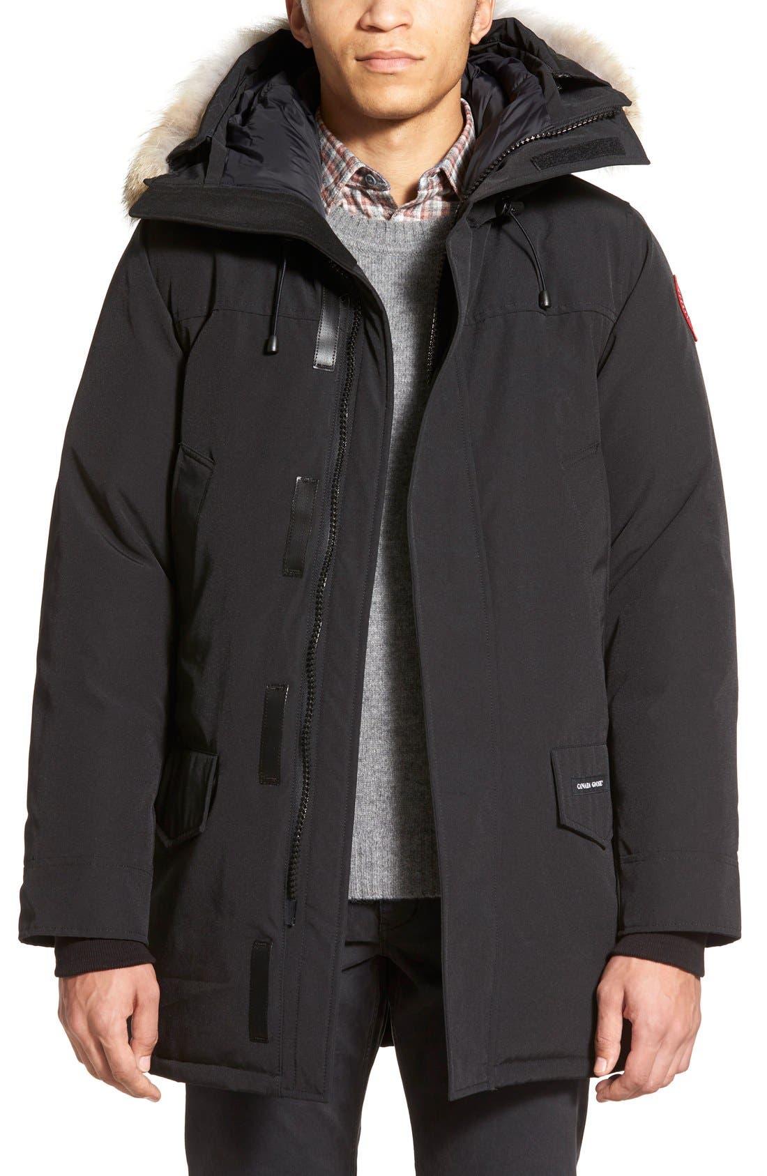 Langford Slim Fit Down Parka with Genuine Coyote Fur Trim,                         Main,                         color, BLACK