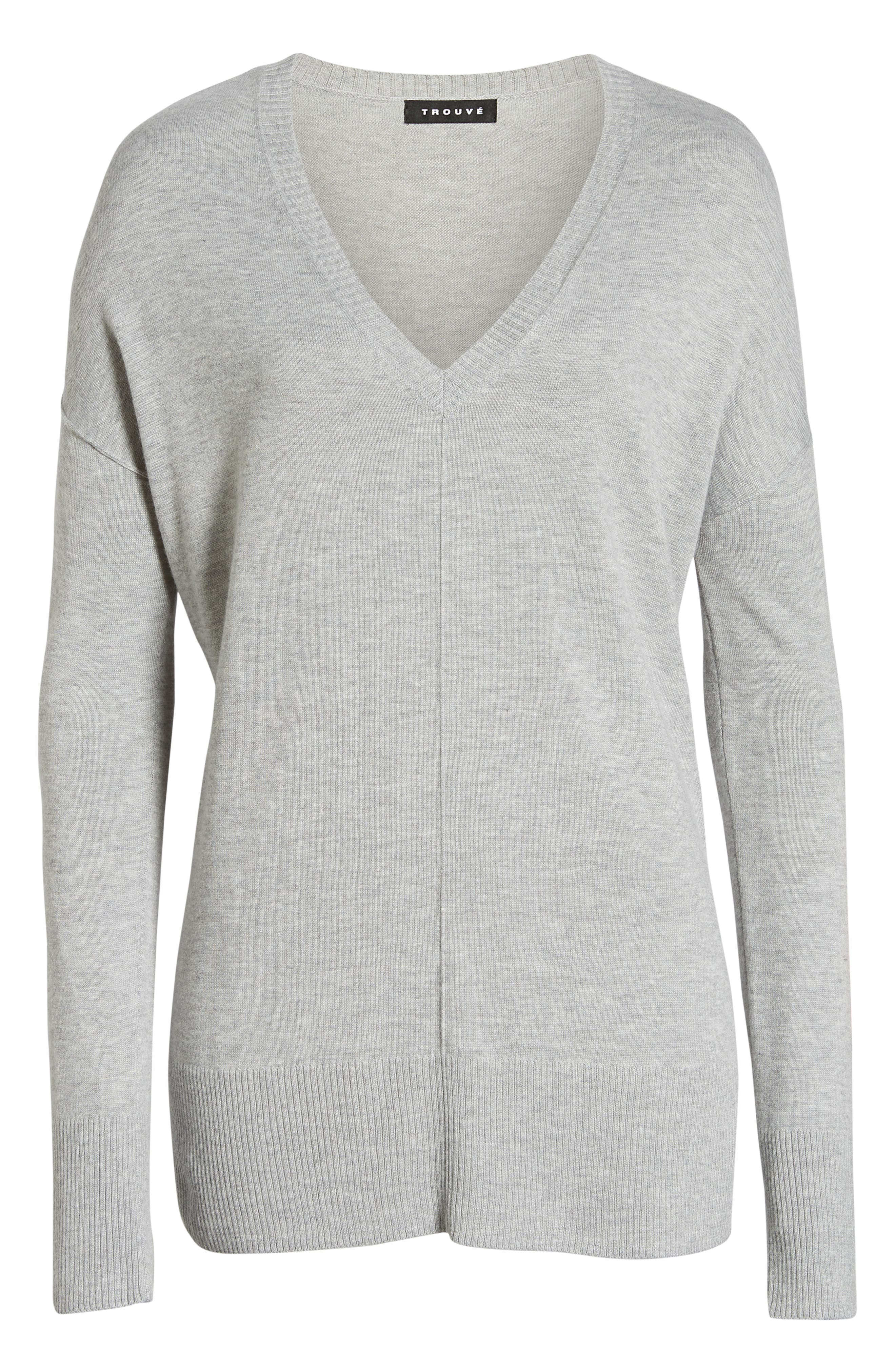 Side Slit Sweater,                             Alternate thumbnail 7, color,                             GREY HEATHER
