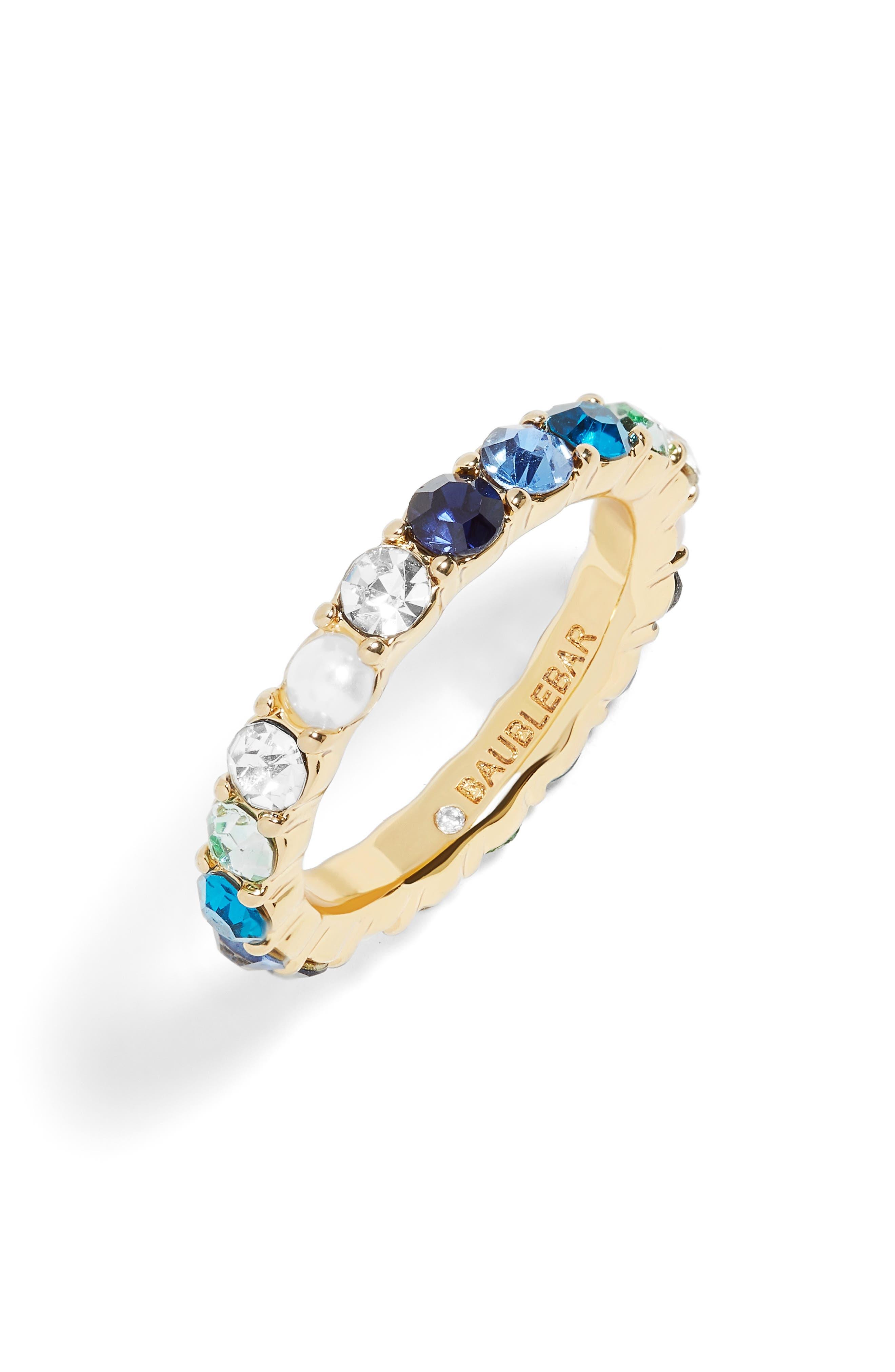 x Micaela Erlanger 7 Days a Week Eternity Ring,                             Main thumbnail 1, color,                             BLUE/ GOLD