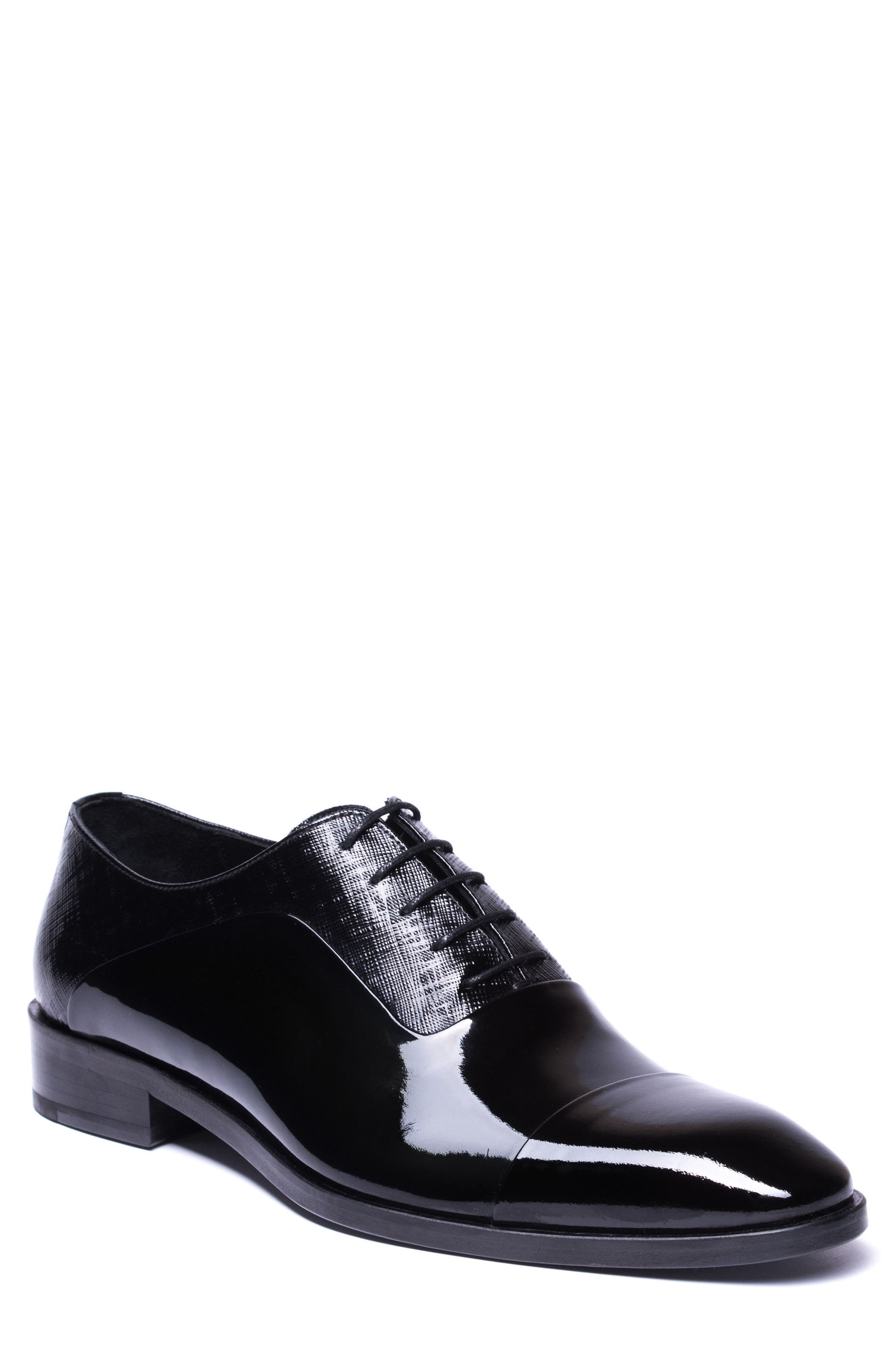 Jimmy Cap Toe Oxford,                         Main,                         color, BLACK LEATHER