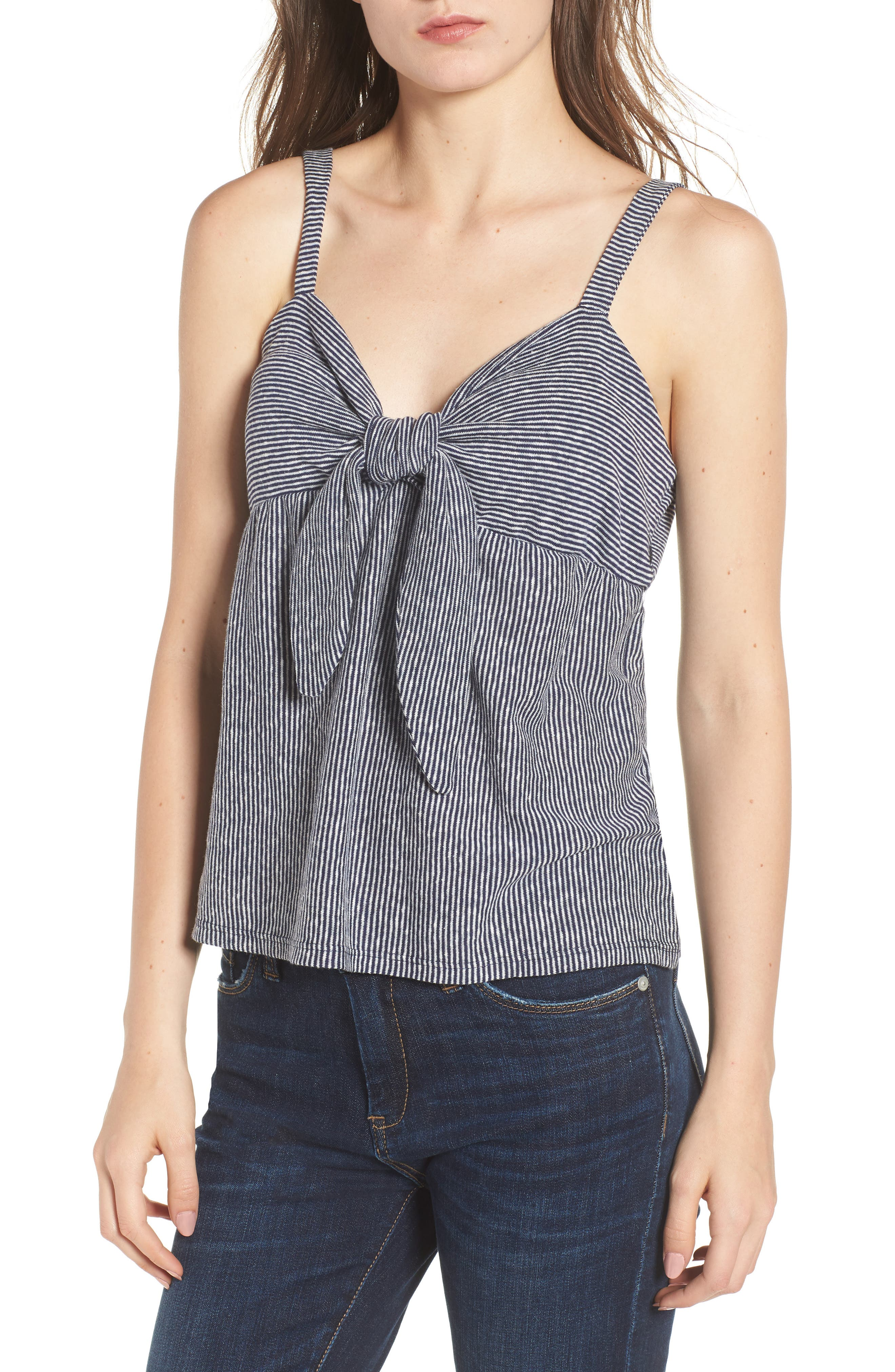 Knot Front Tank Top,                         Main,                         color, NAVY/ OFF WHITE