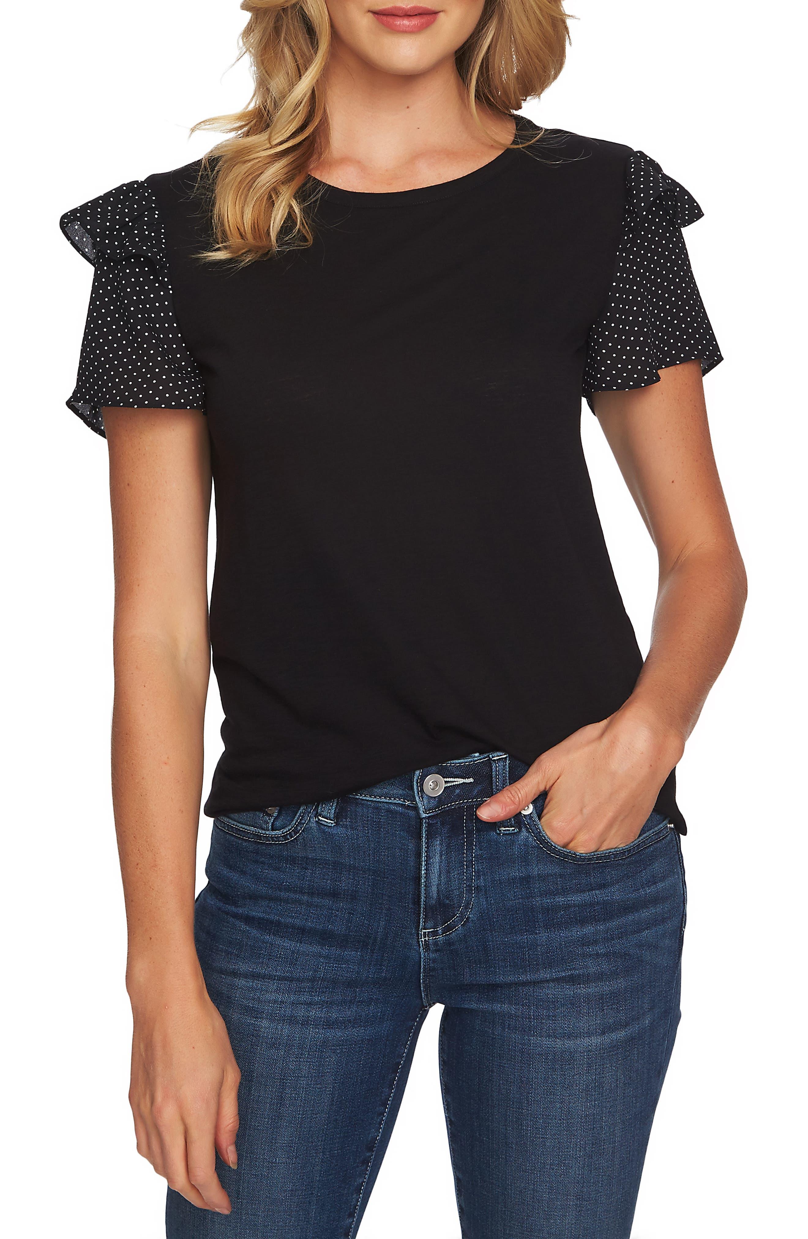 CECE Mix Media Ruffle Sleeve Cotton Blend Top, Main, color, RICK BLACK