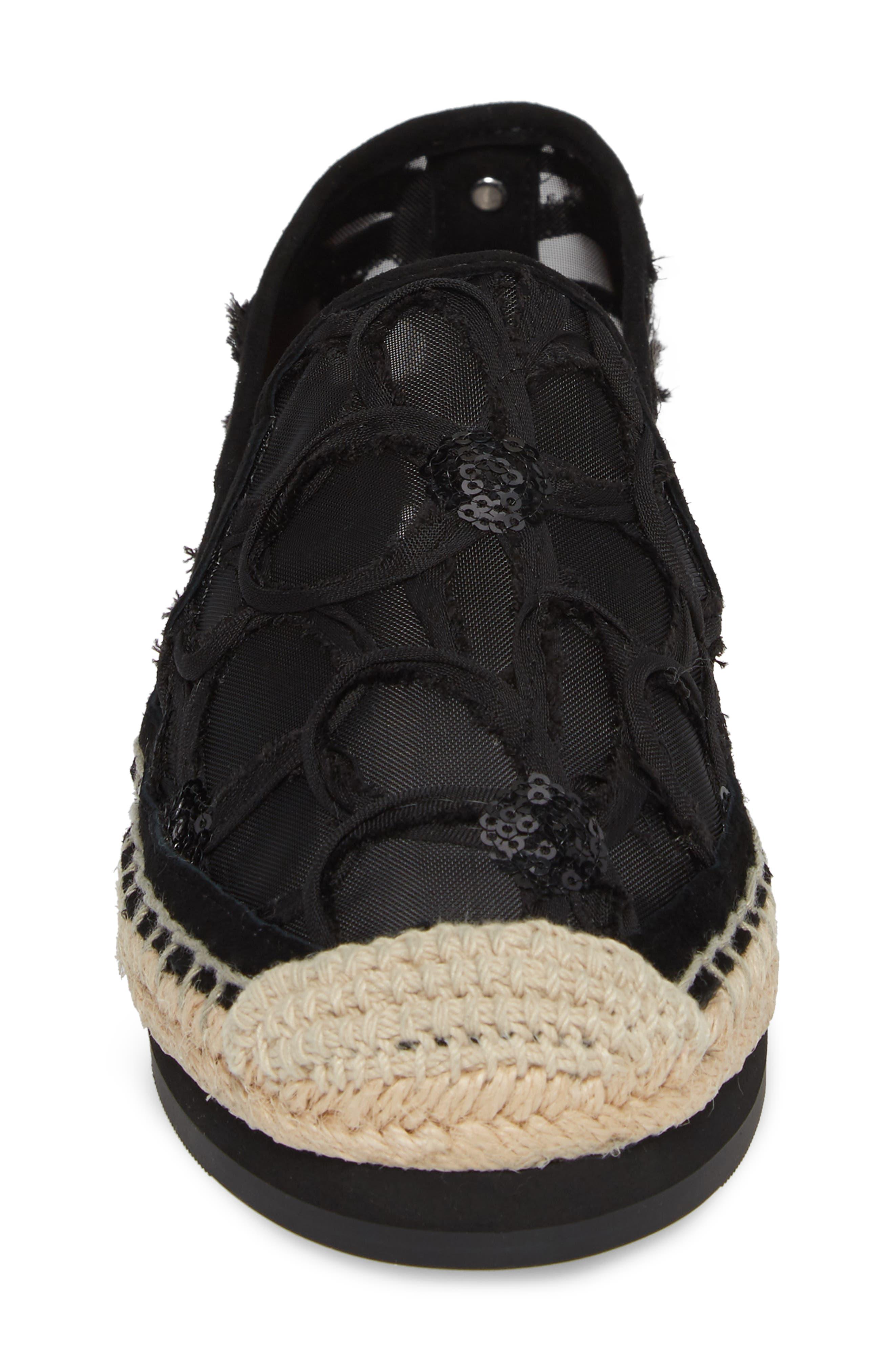 Sara Espadrille Platform Loafer,                             Alternate thumbnail 4, color,                             BLACK MESH FABRIC