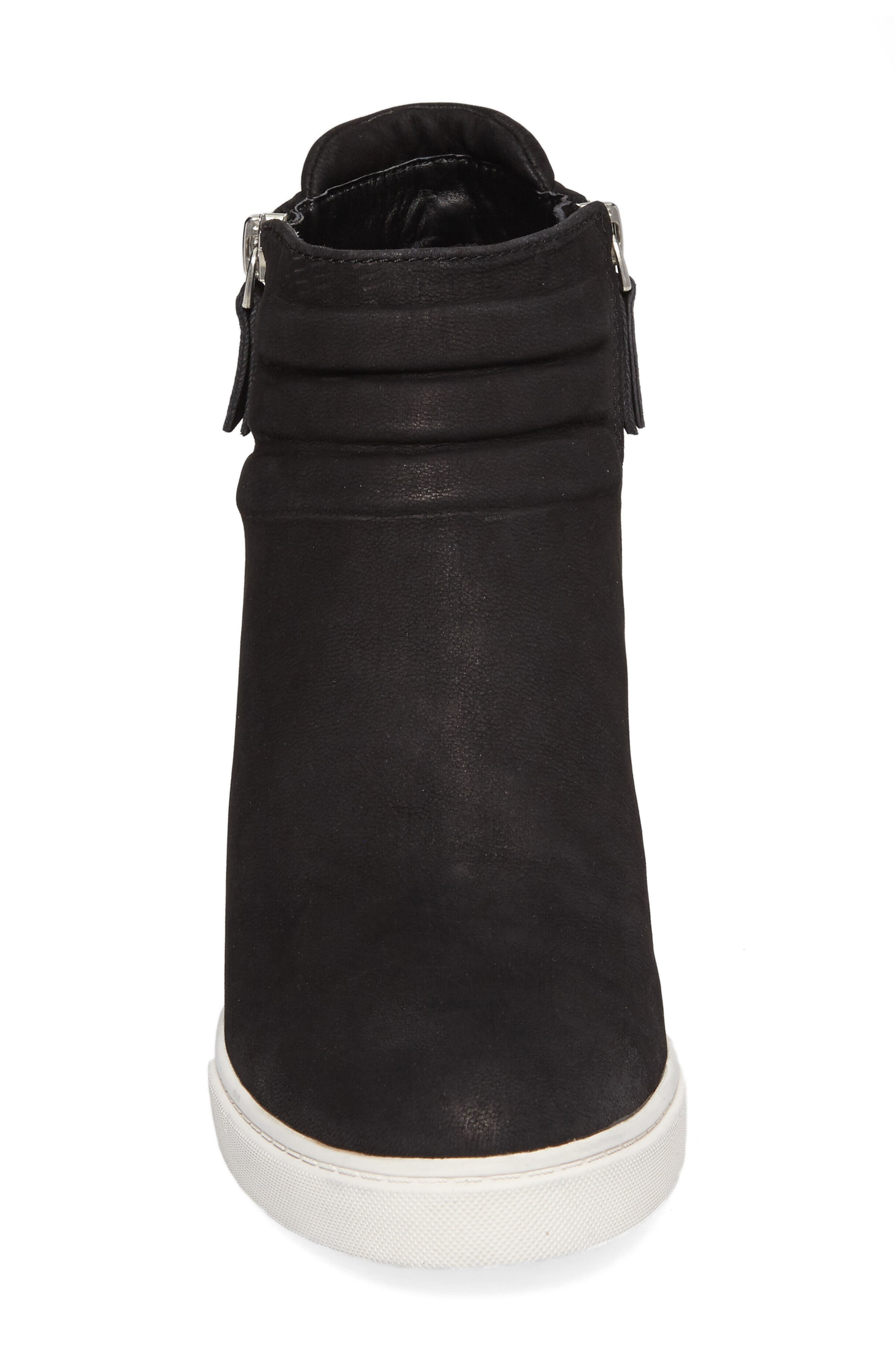Frieda Wedge Bootie,                             Alternate thumbnail 4, color,                             BLACK LEATHER