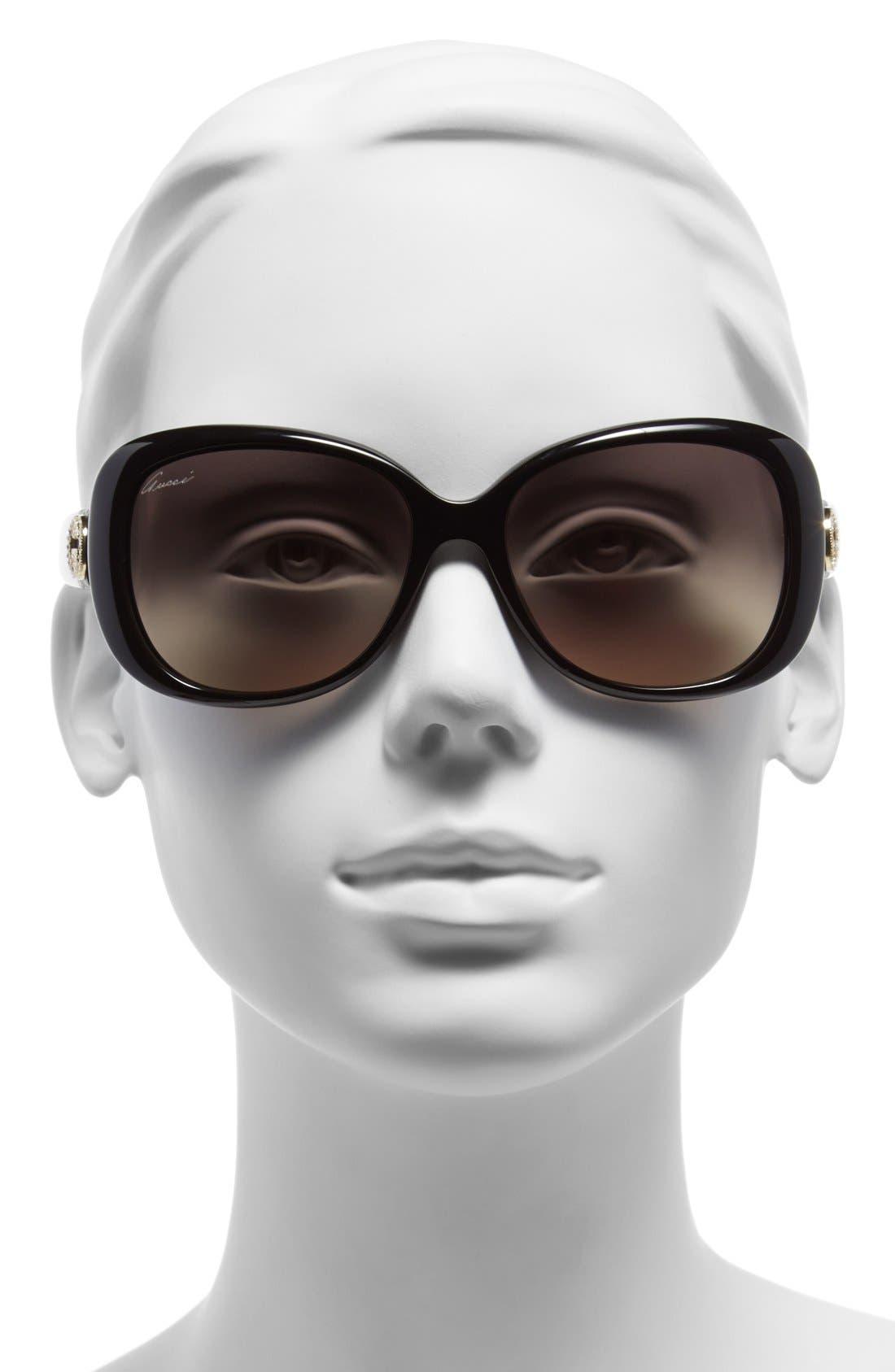 56mm Swarovski Crystal Sunglasses,                             Alternate thumbnail 2, color,                             001