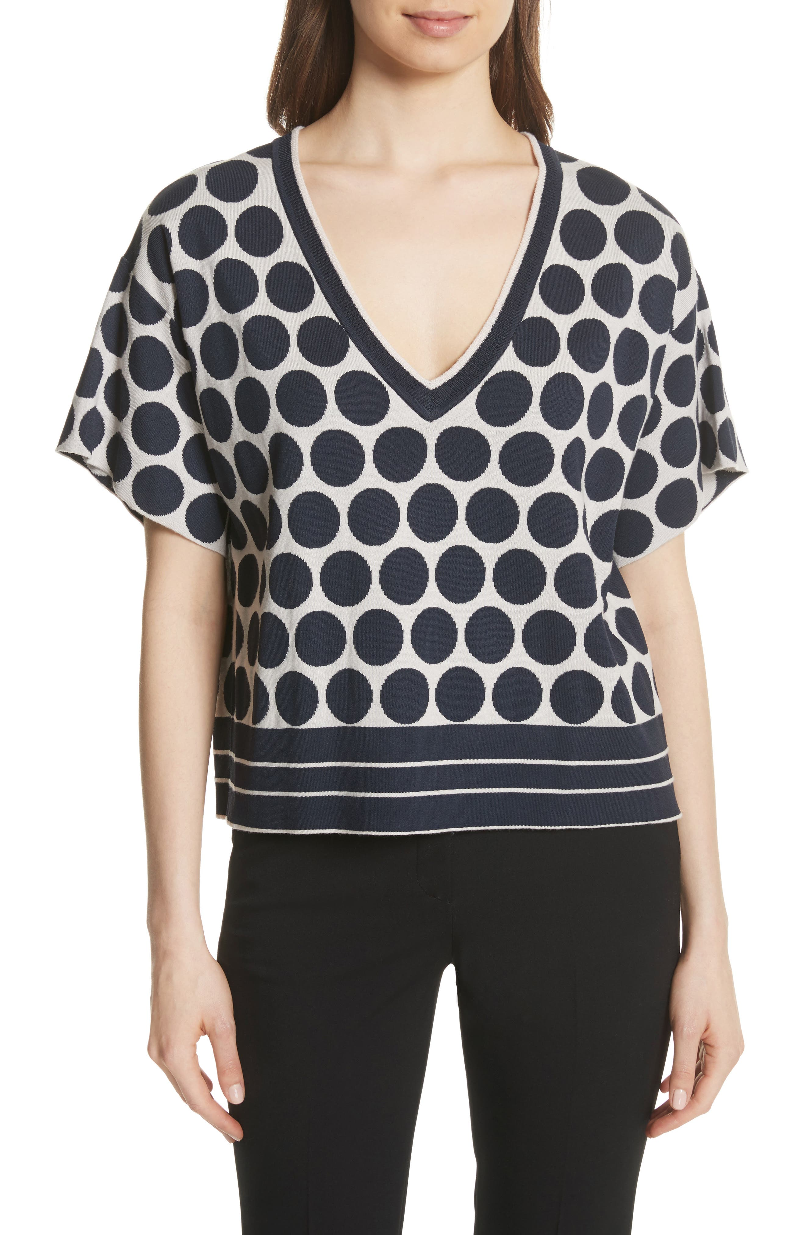 Polka Dot V-Neck Tee,                             Main thumbnail 1, color,