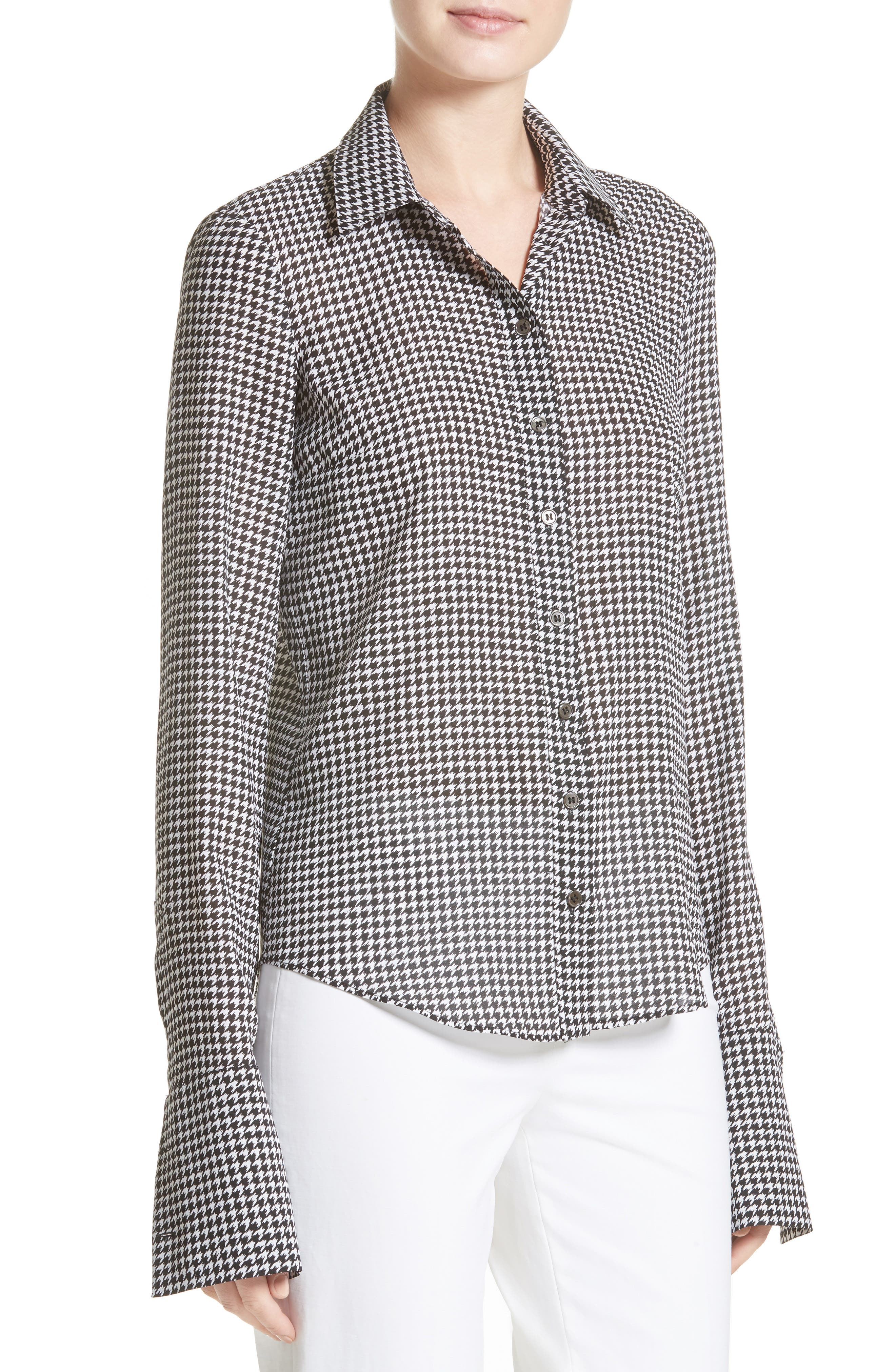 Houndstooth Silk Georgette Shirt,                             Alternate thumbnail 4, color,                             003
