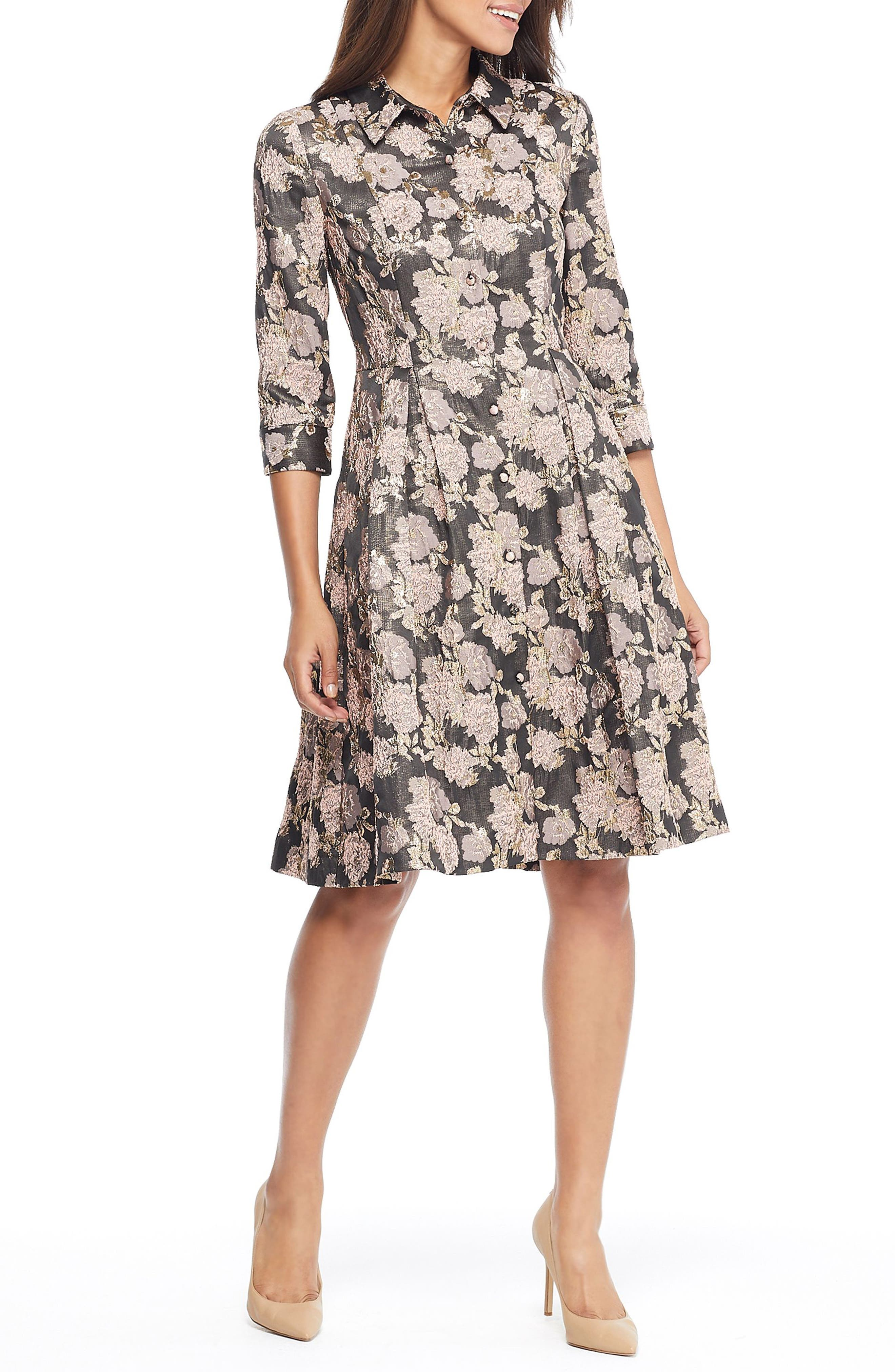 Gal Meets Glam Collection Lucy Golden Carnation Button Front Dress, Brown