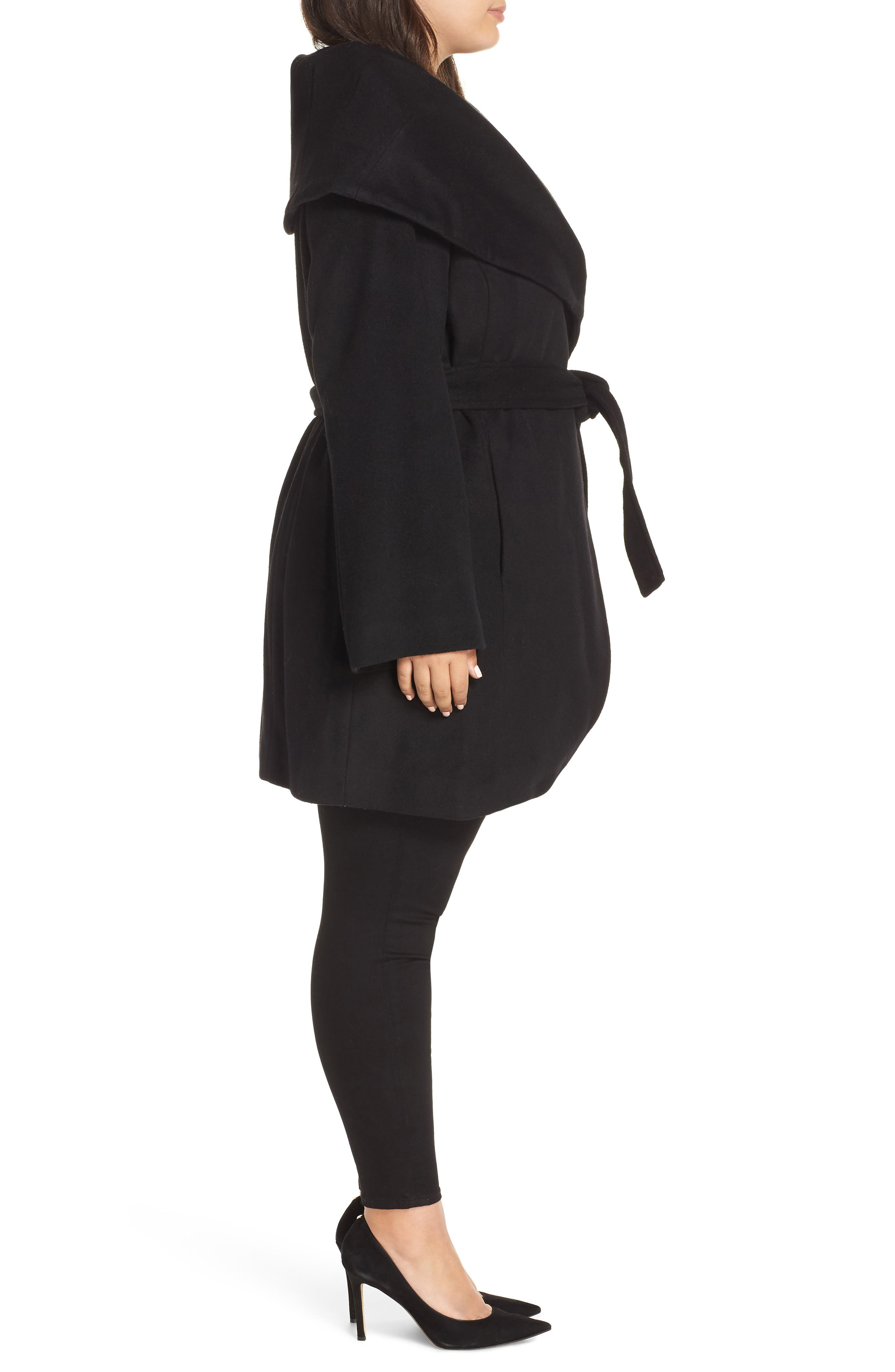 Marla Cutaway Wrap Coat with Oversize Collar,                             Alternate thumbnail 3, color,                             002