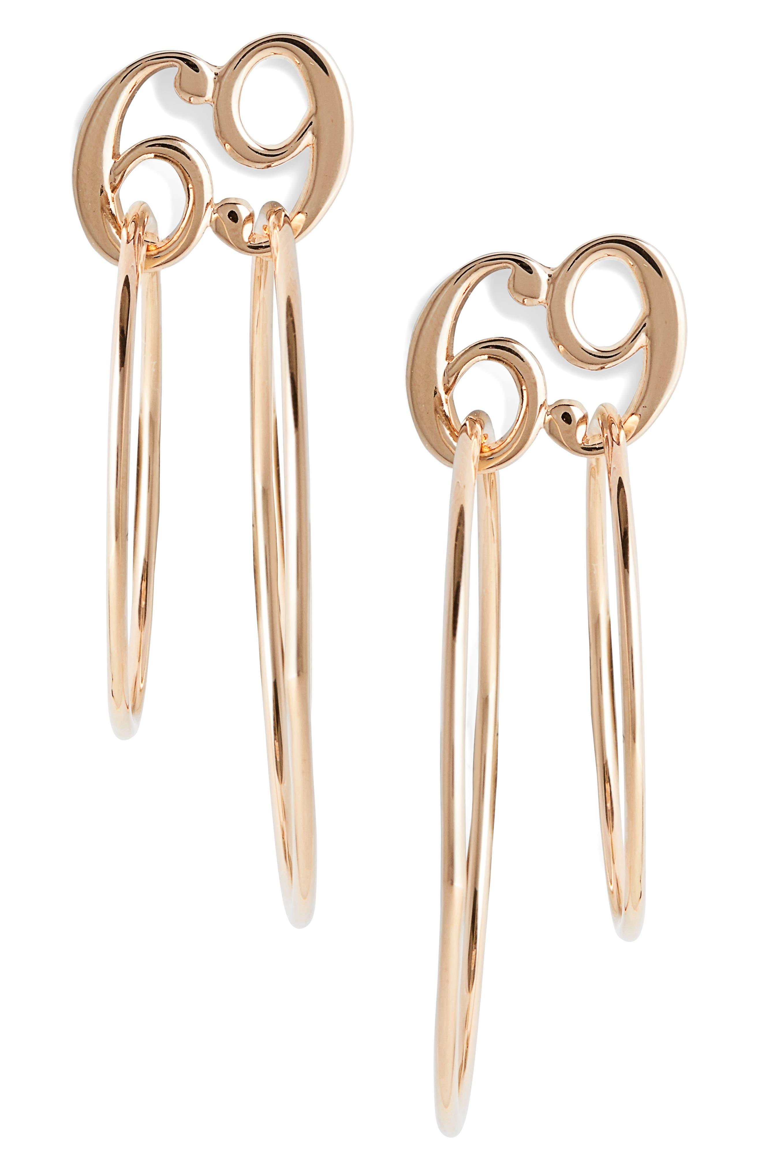 JIWINAIA 69 Double Hoop Earrings in 18 Kt Gold Plated Brass
