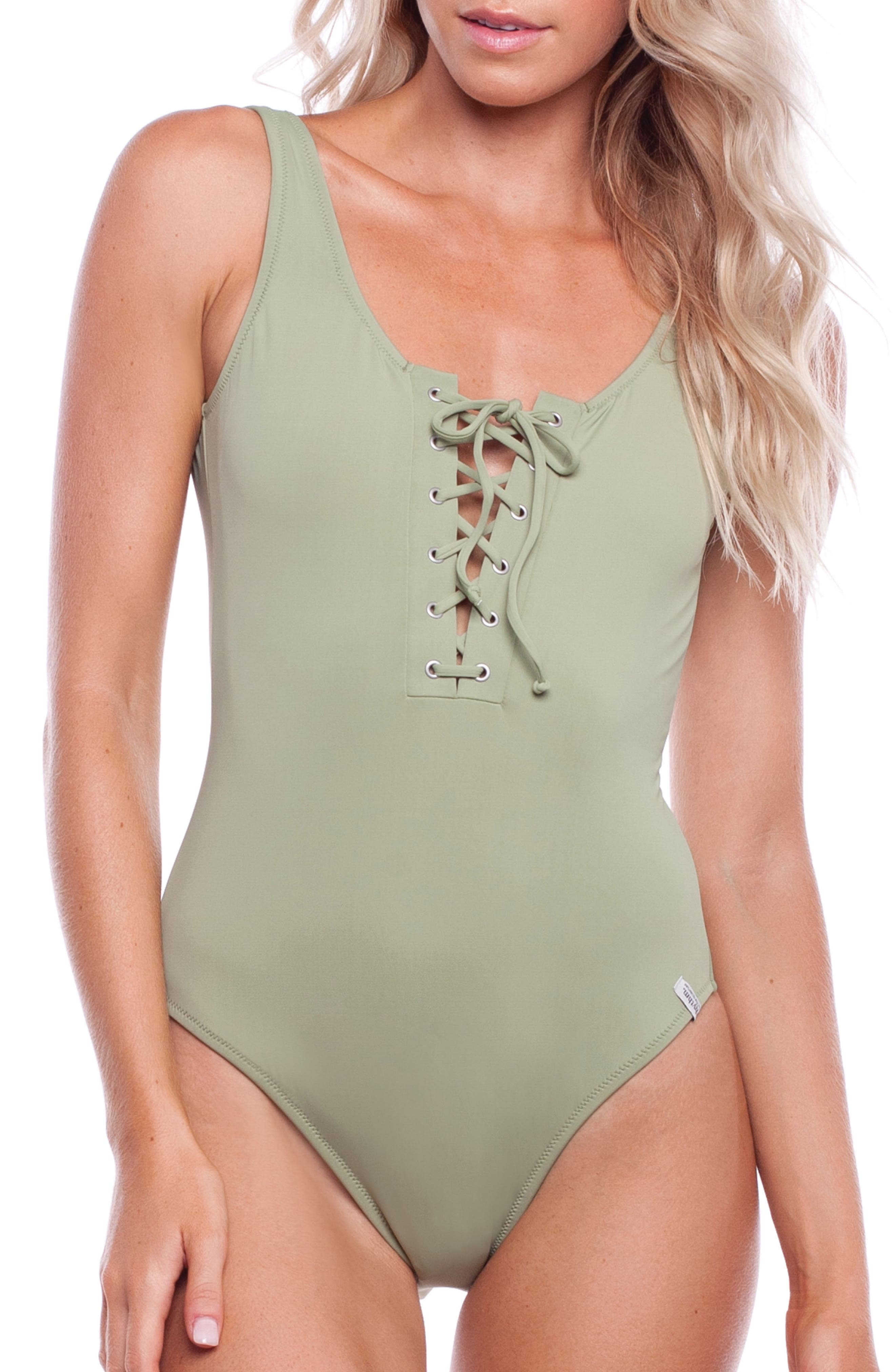 Sunchaser One-Piece Swimsuit,                             Main thumbnail 1, color,                             PALM