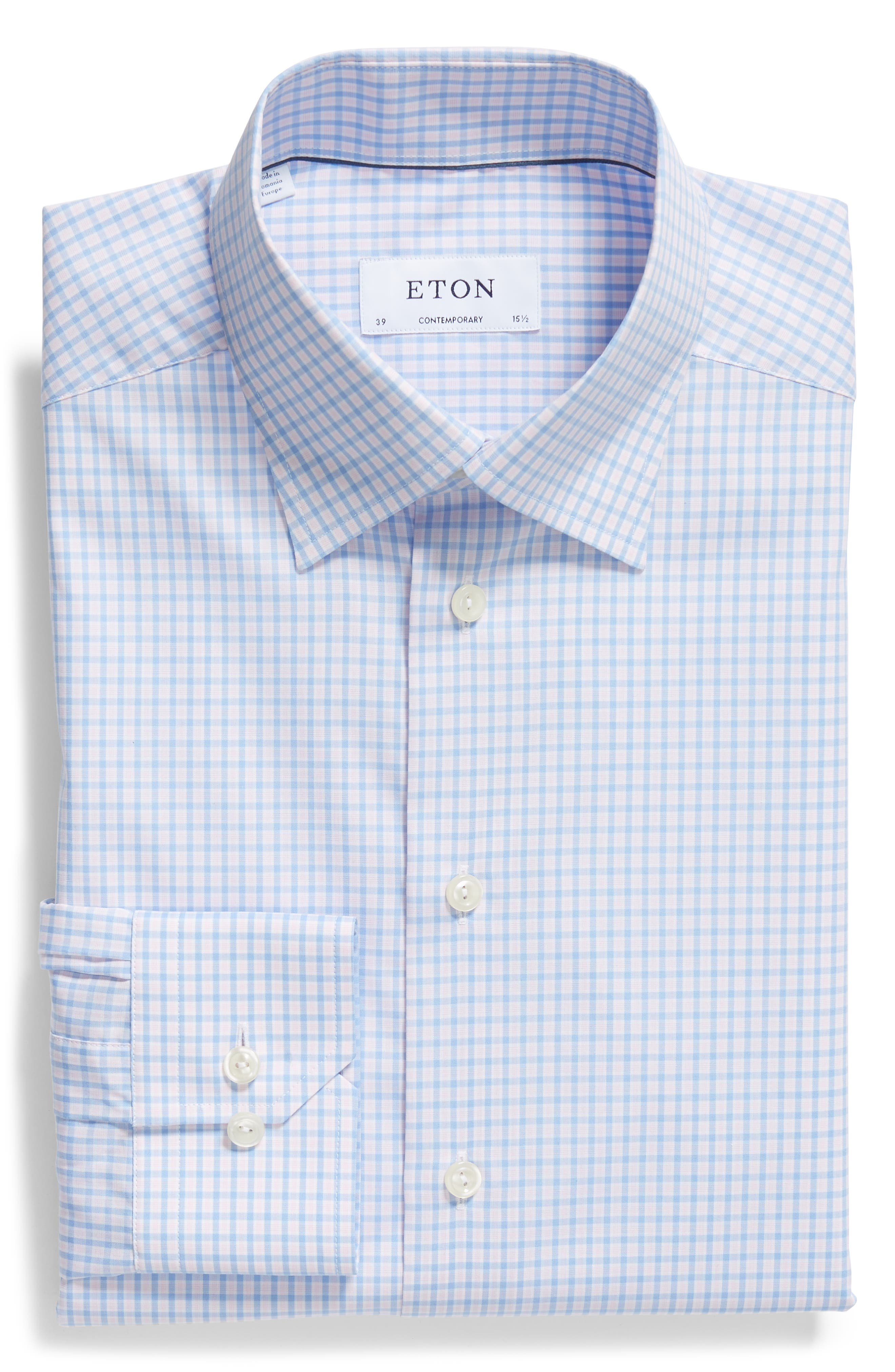 Contemporary Fit Check Dress Shirt,                             Alternate thumbnail 5, color,                             PINK