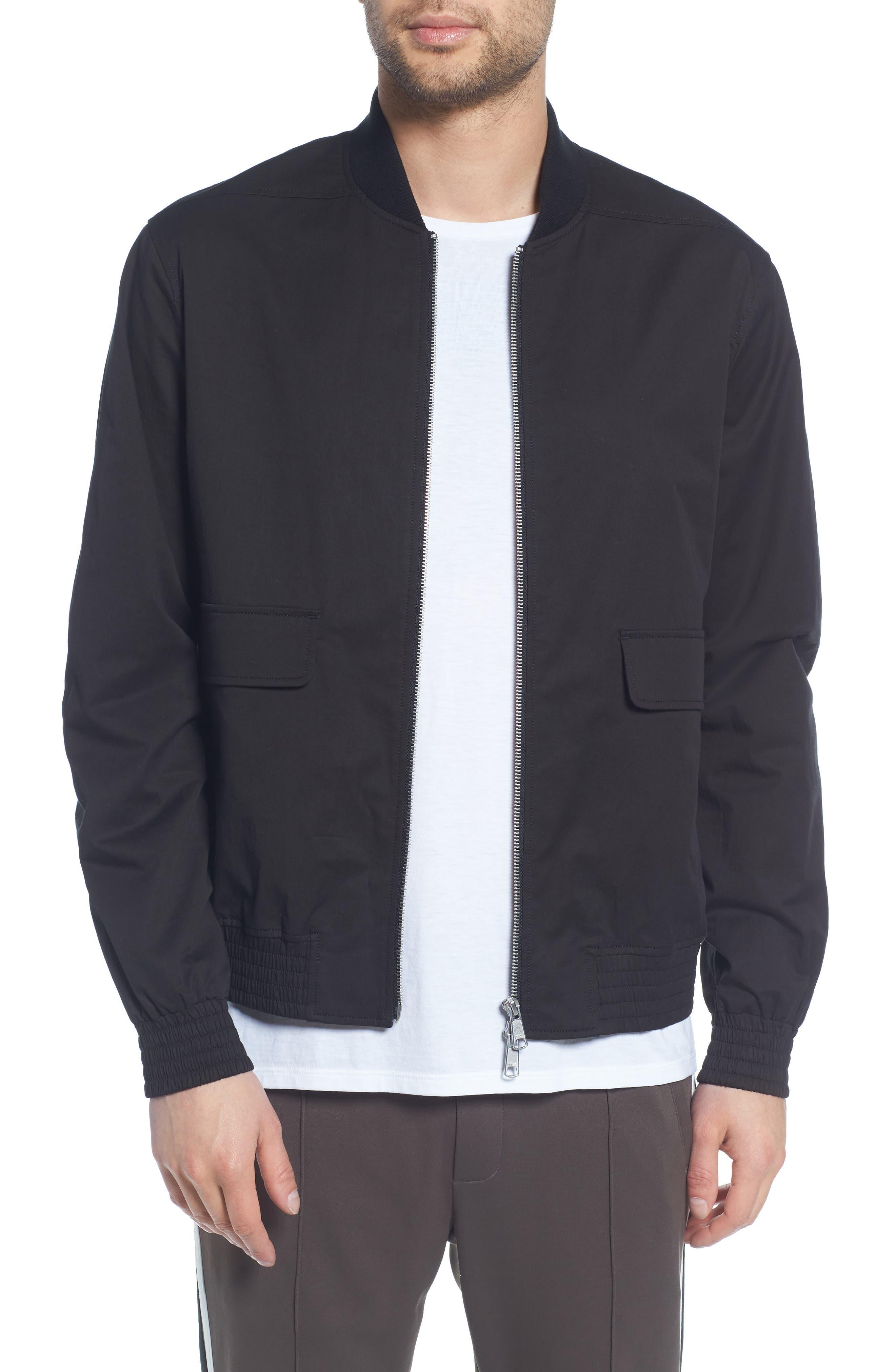 Regular Fit Bomber Jacket,                             Main thumbnail 1, color,                             BLACK