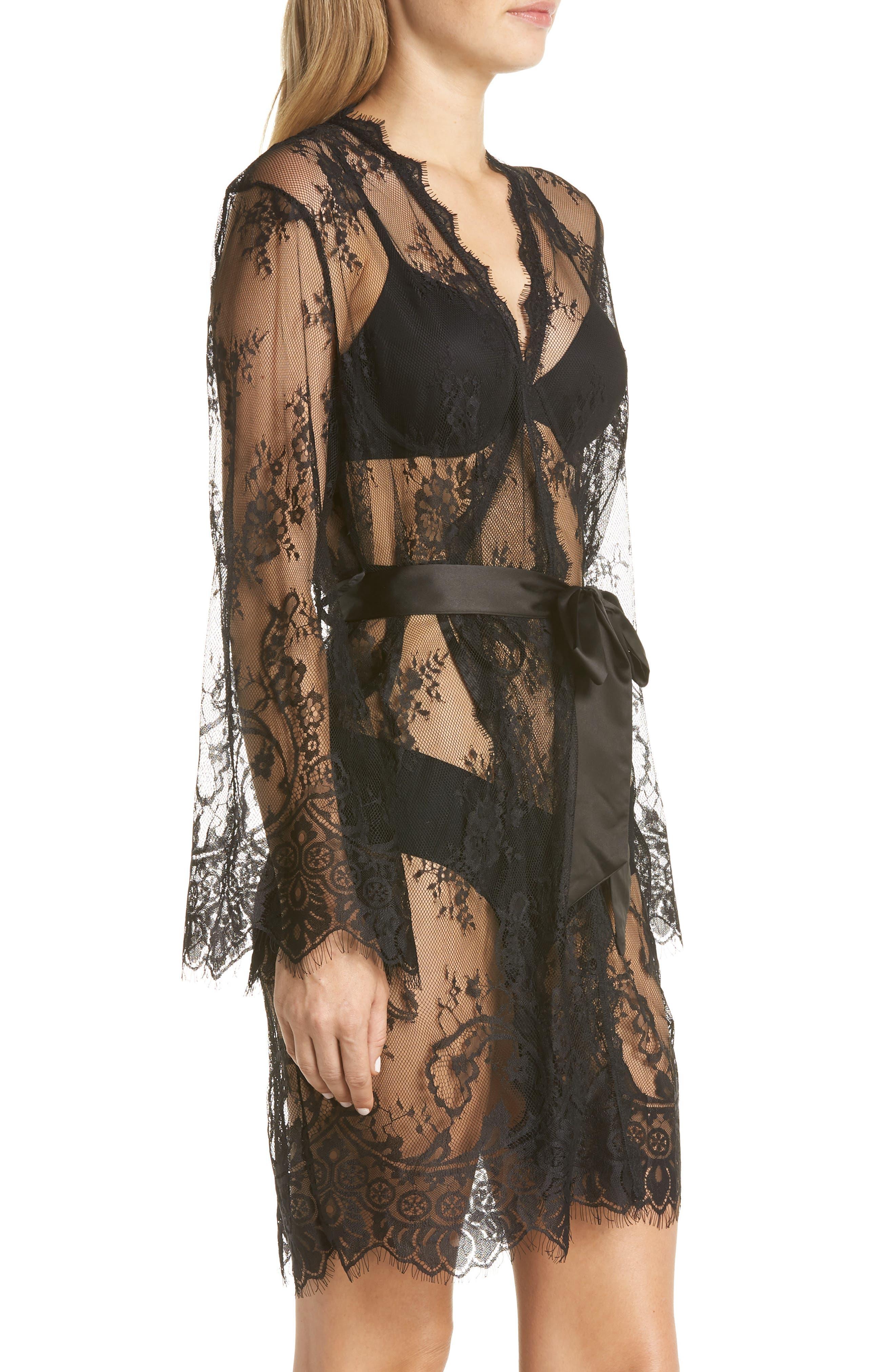 Saria Sheer Lace Robe,                             Alternate thumbnail 3, color,                             BLACK