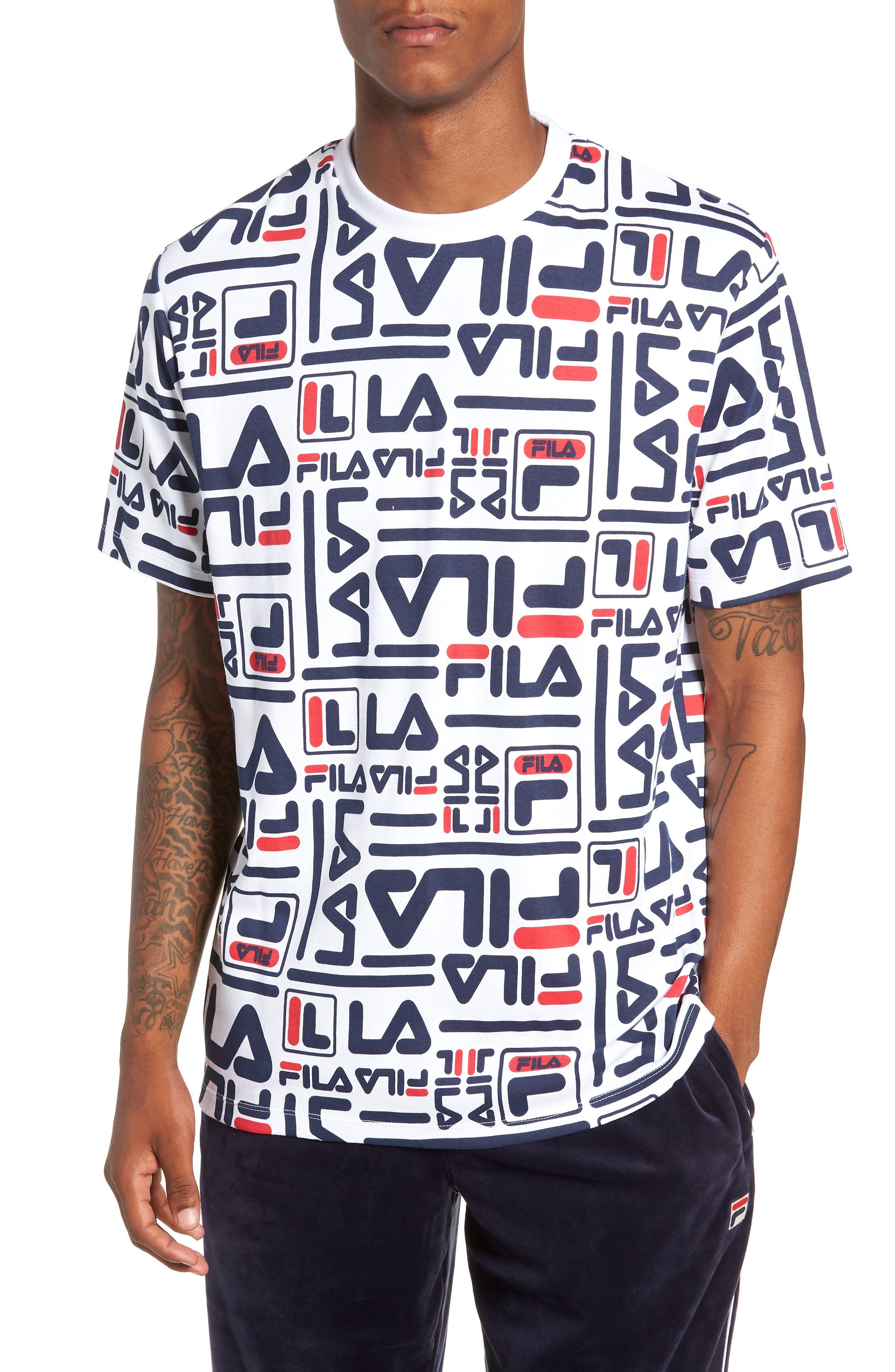FILA Men'S Charlie Logo-Print T-Shirt in White/Peacoat/Red