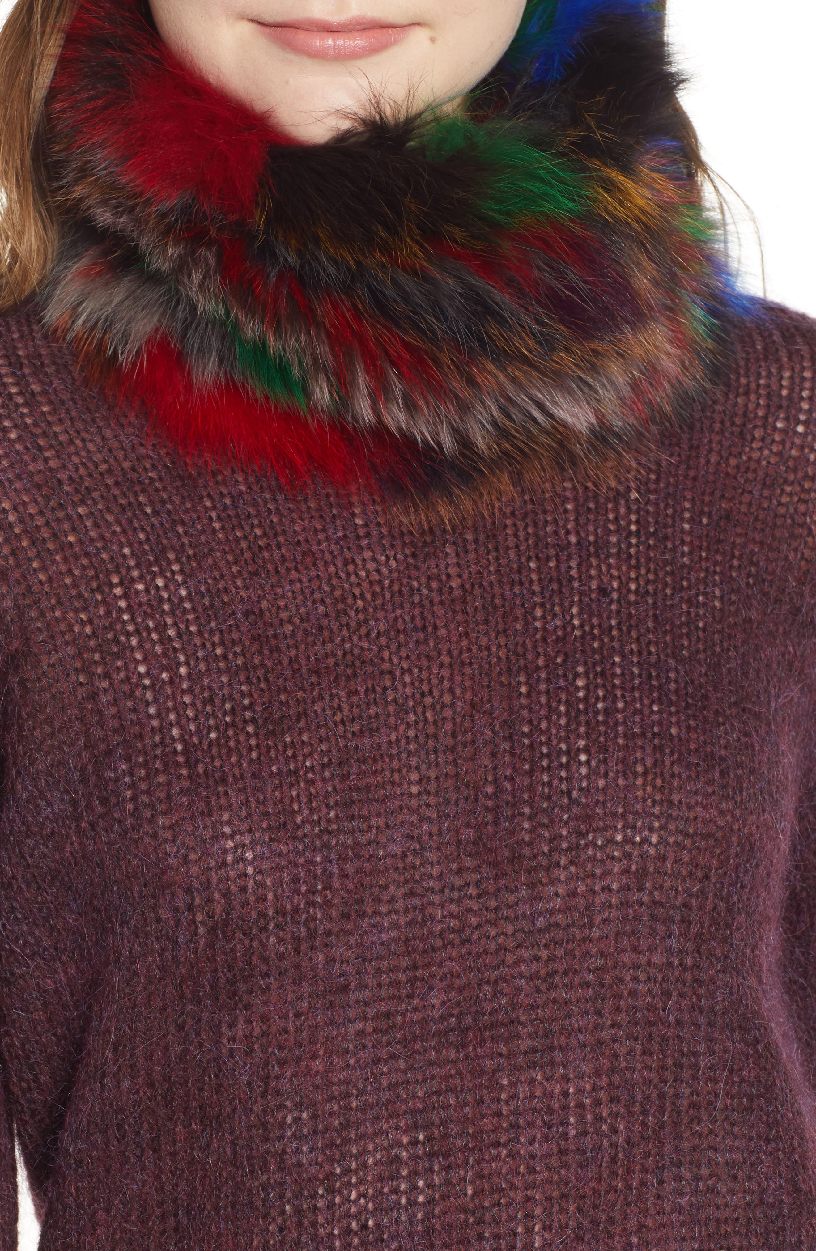 Genuine Fox Fur Cowl,                             Main thumbnail 1, color,                             BLACK/MULTI