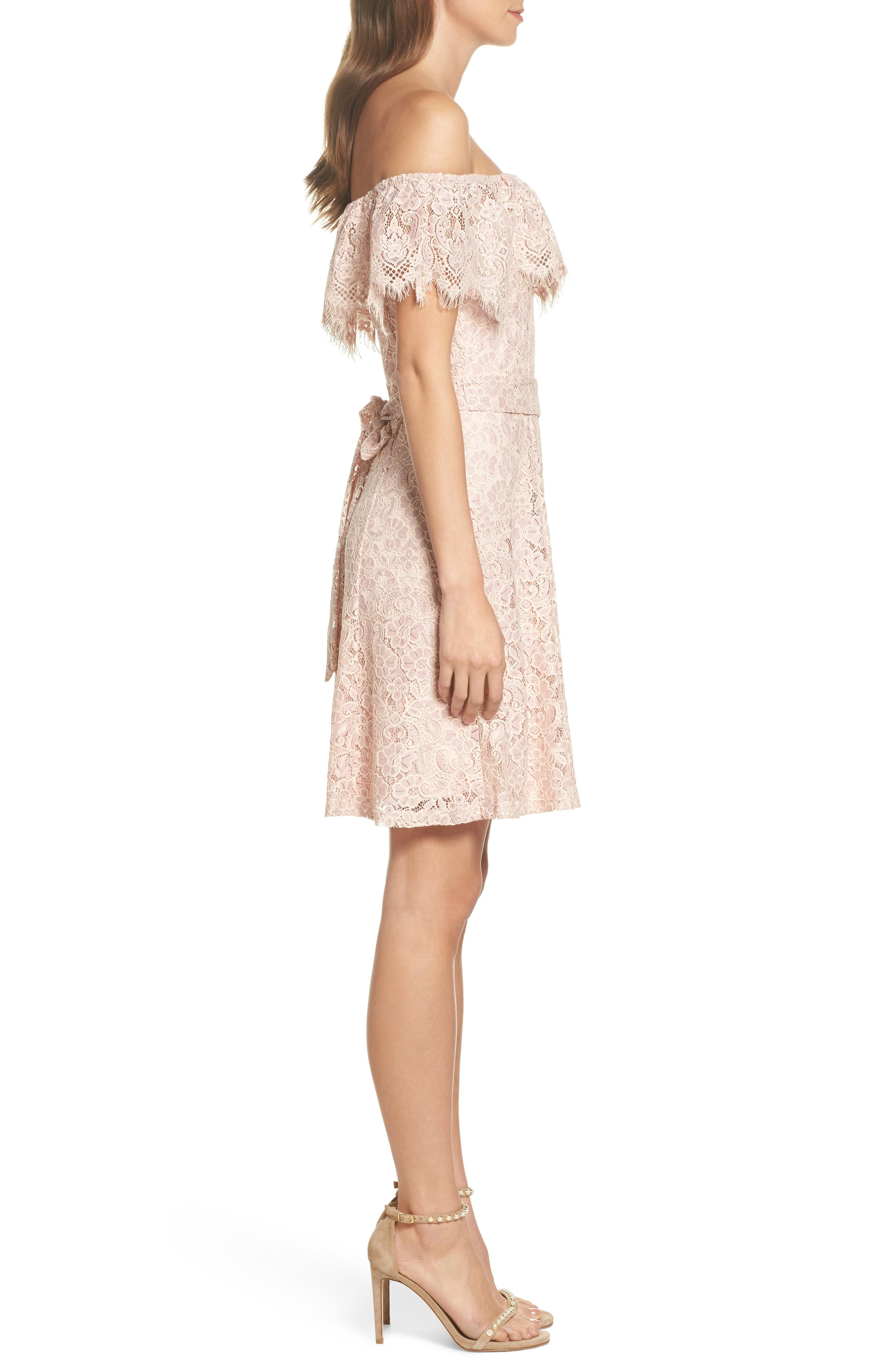 Off the Shoulder Lace Dress,                             Alternate thumbnail 3, color,                             DUSTY PINK